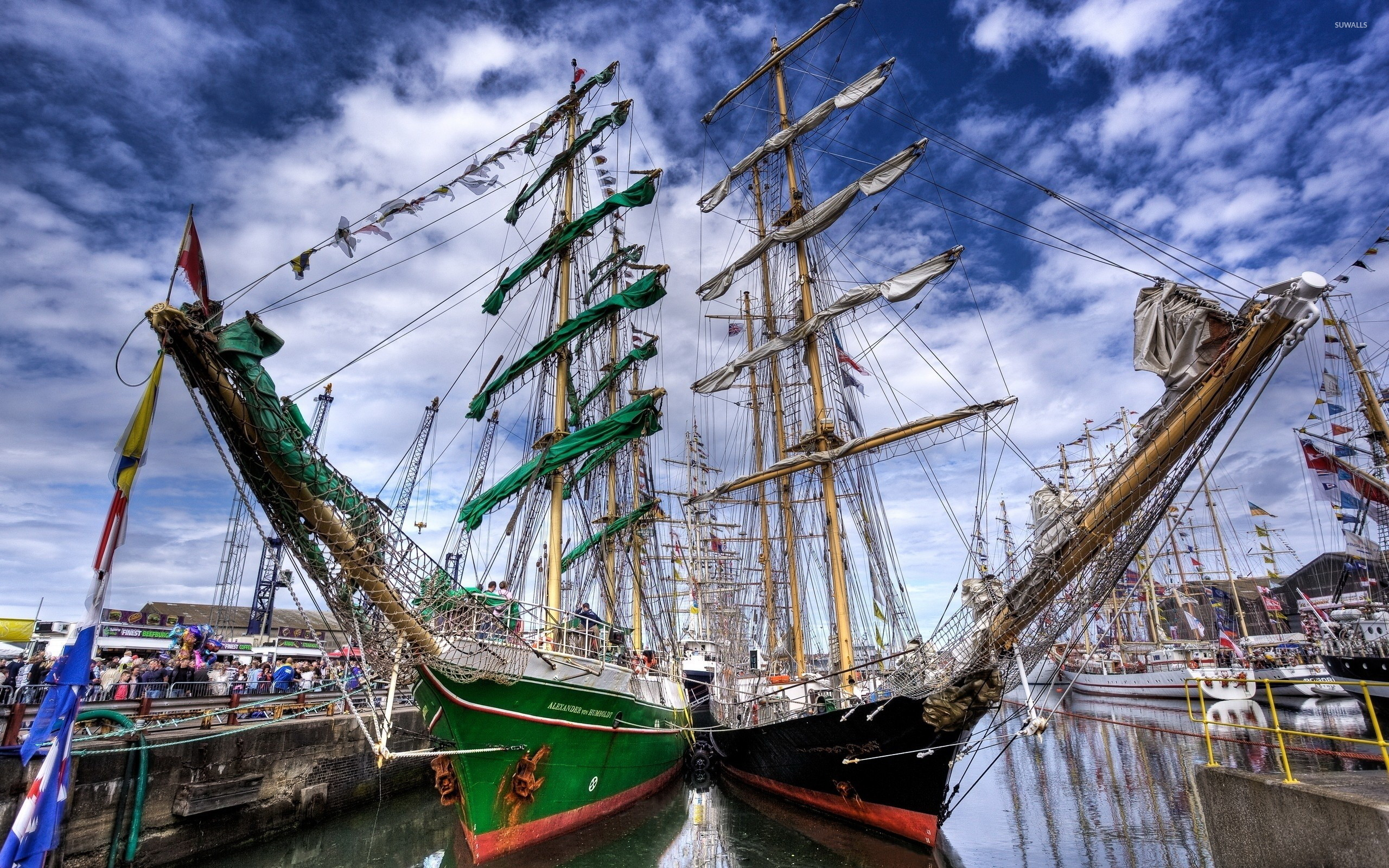 Res: 2560x1600, Sailing ships in the harbor [2] wallpaper