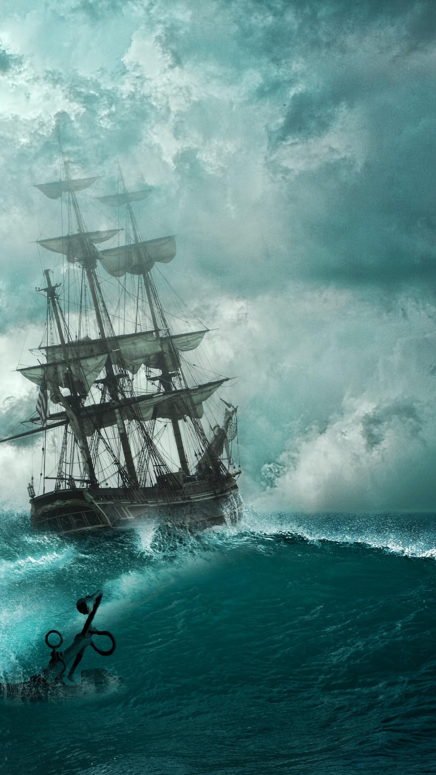 Res: 1440x2560, Creative Graphics / Pirate ship Wallpaper