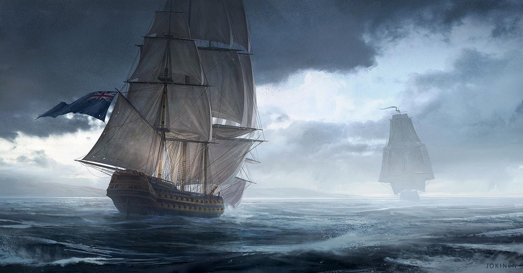 Res: 2063x1080, #painting, #sailing ship, wallpaper