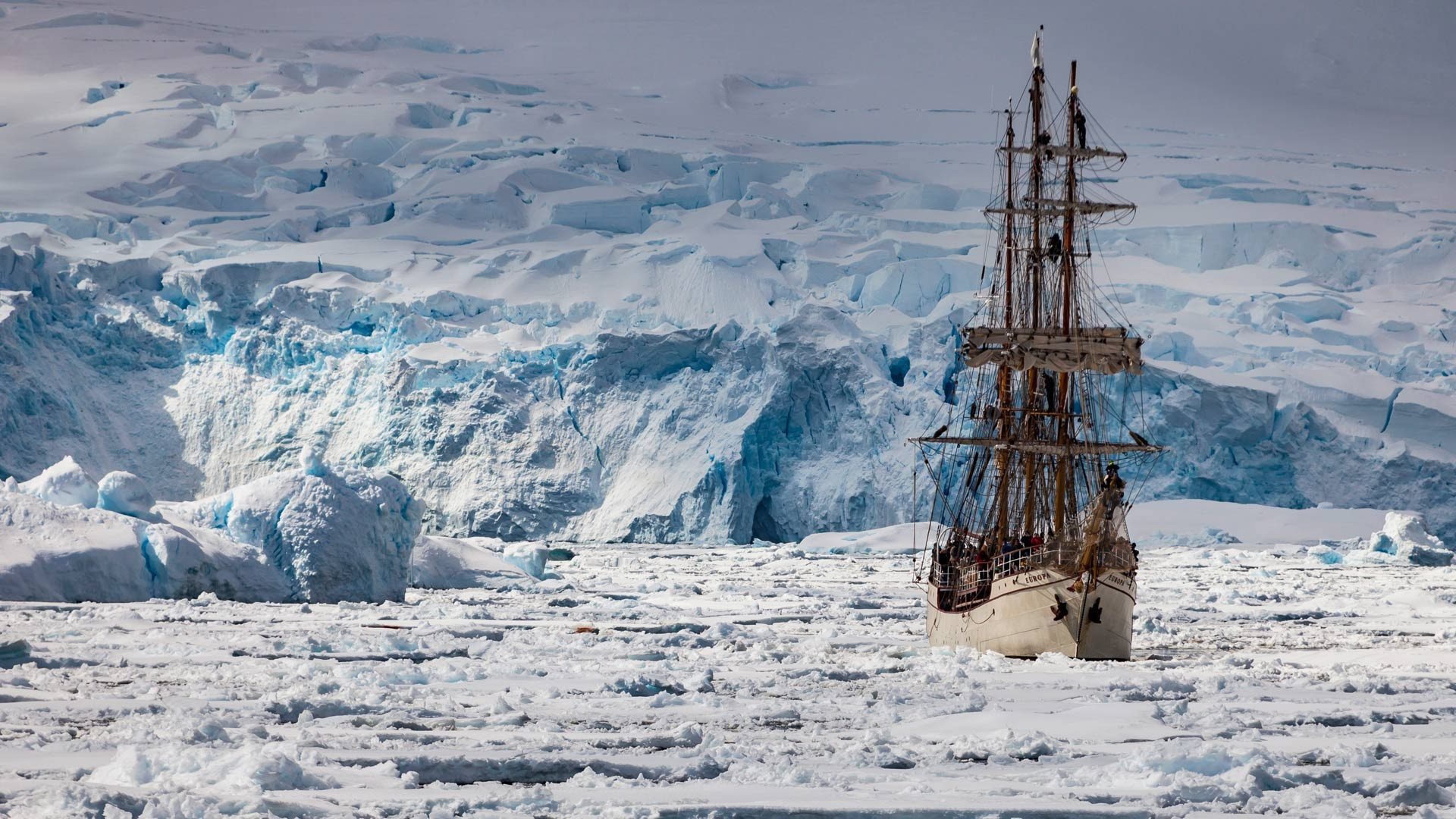 Res: 1920x1080, Tall Ship in an icy sea