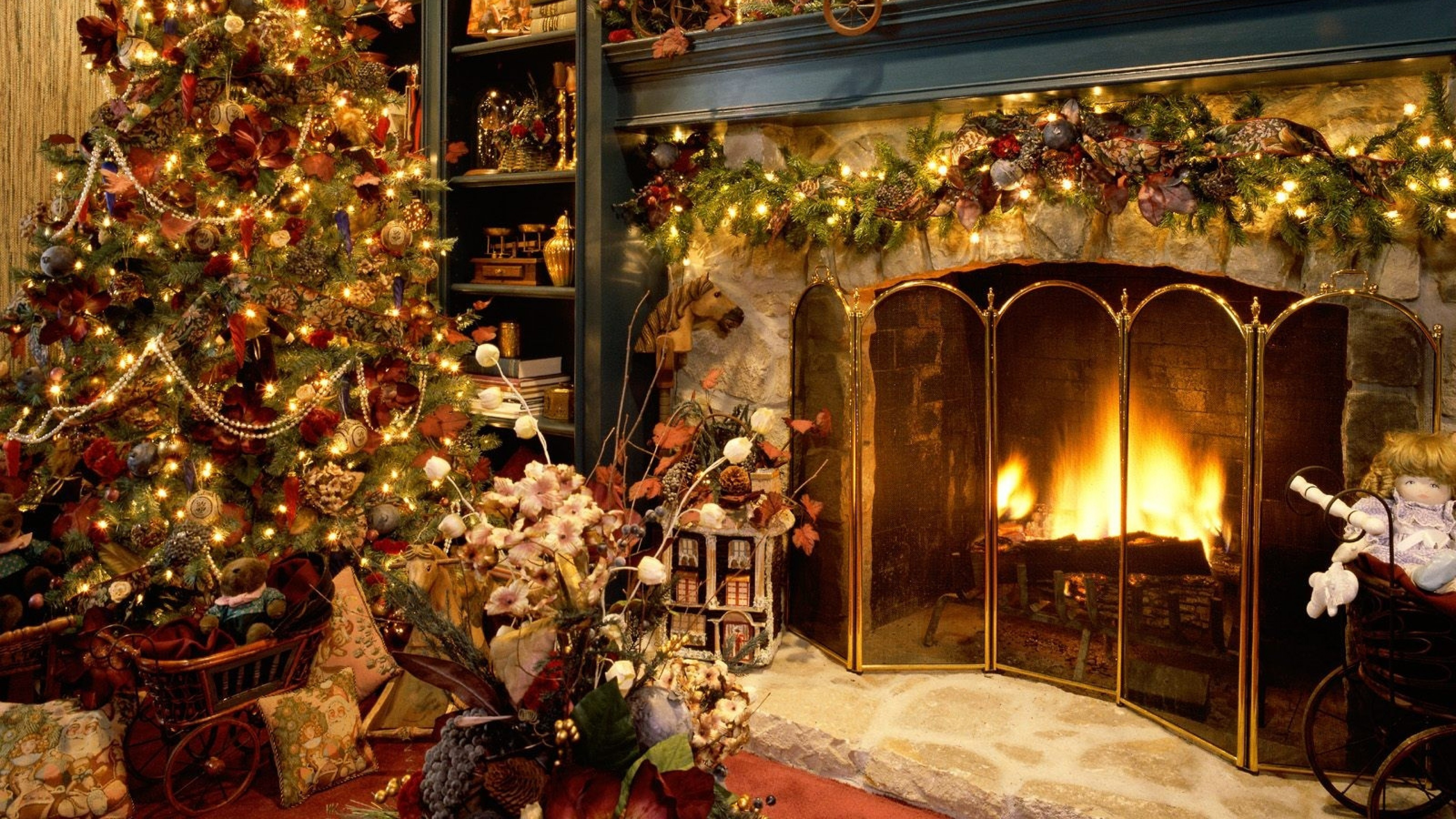 Res: 3840x2160, Christmas Fireplace Wallpaper Wallpapers9