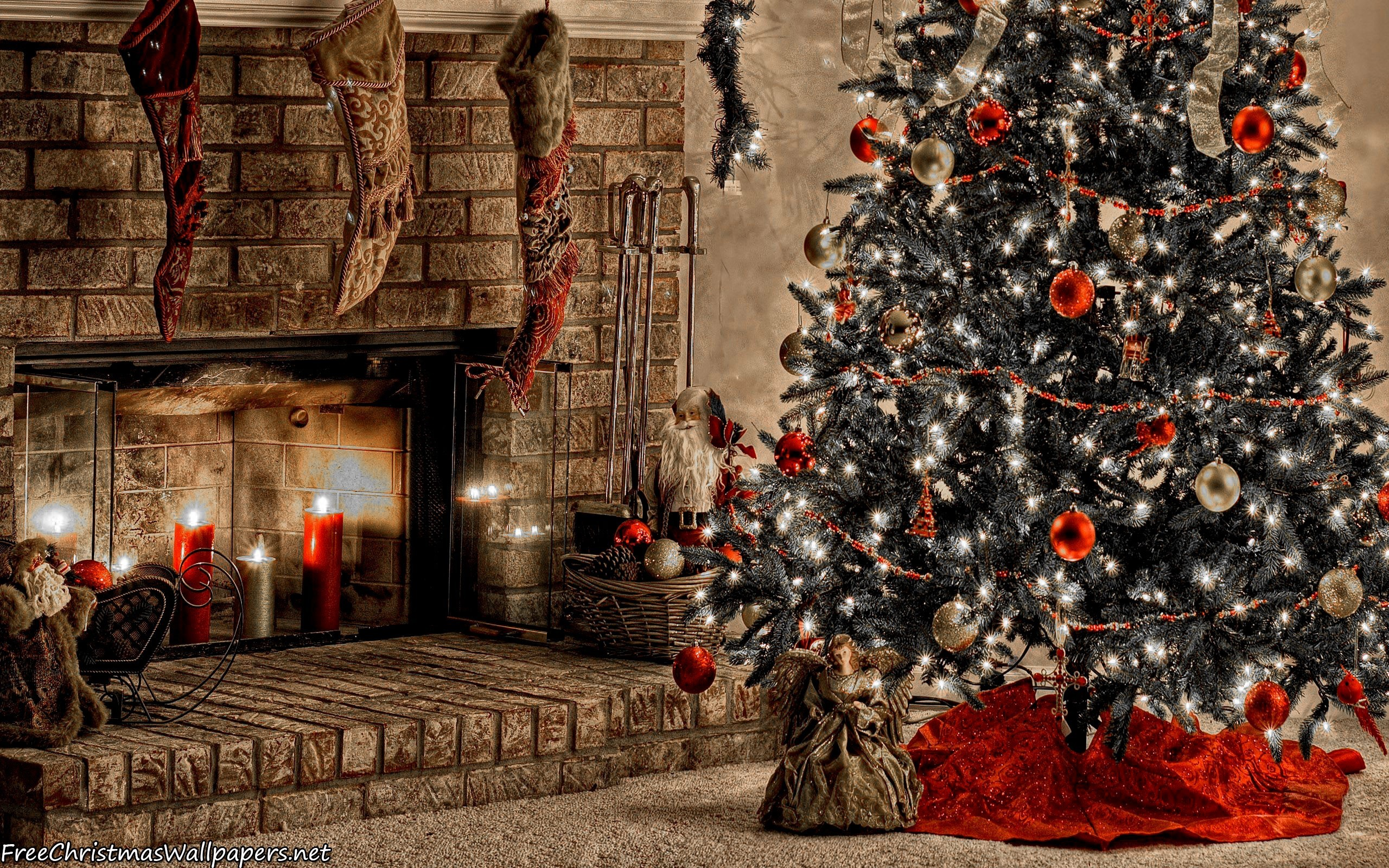 Res: 2560x1600, Download Warm Christmas Fireplace Wallpaper. Warm Christmas Fireplace