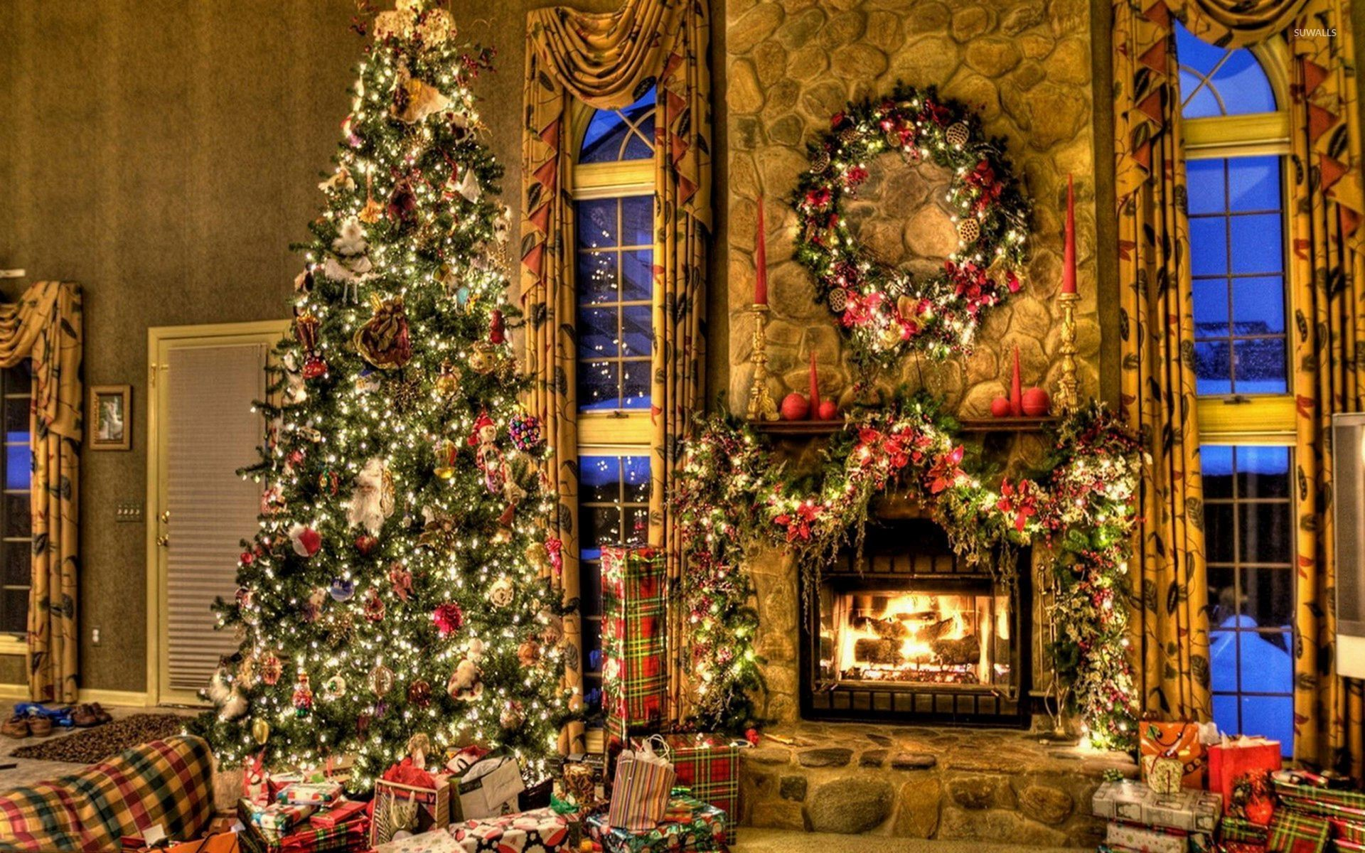 Res: 1920x1200, Beautiful Christmas tree by the fireplace wallpaper