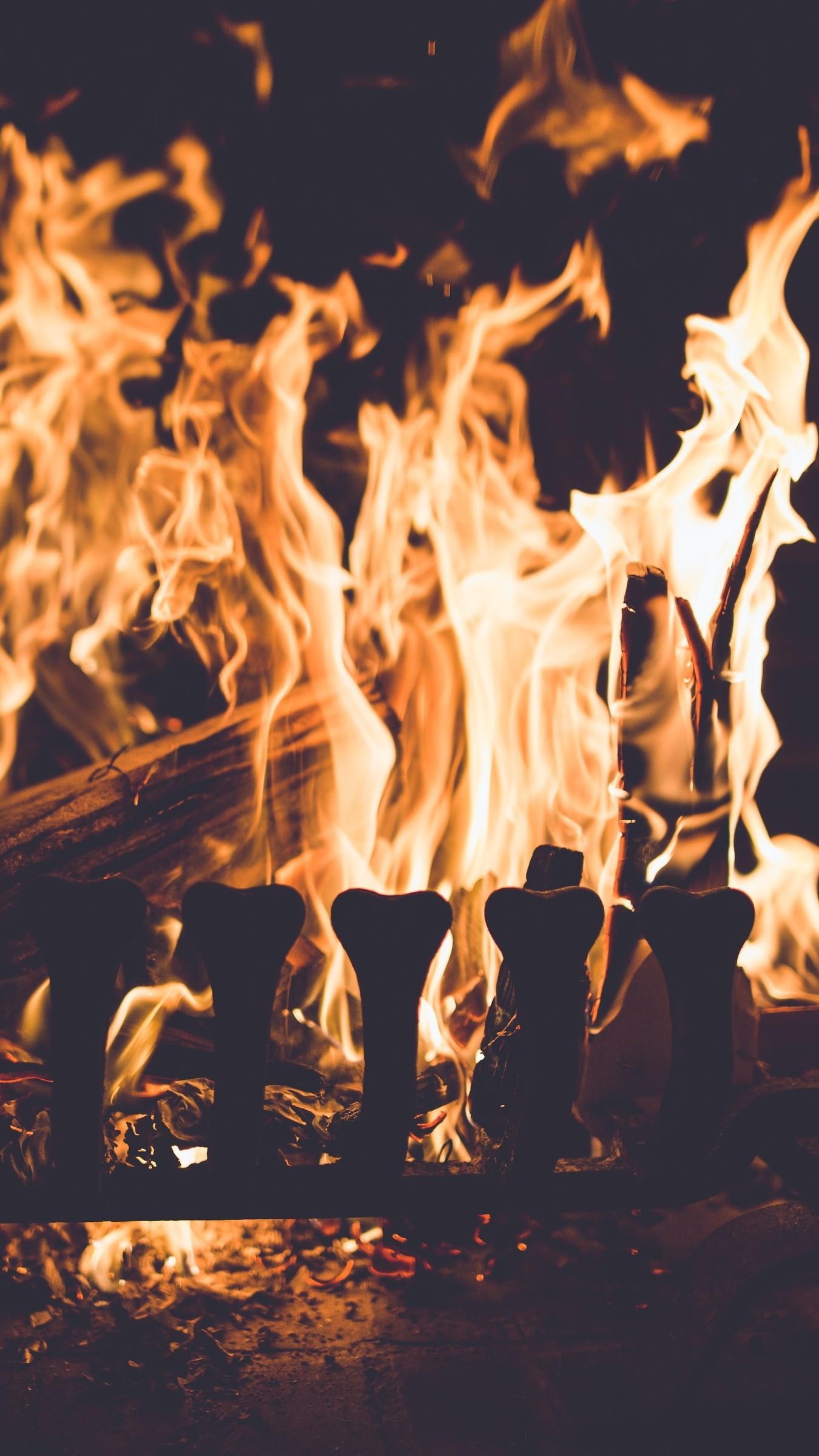 Res: 1350x2400,  Wallpaper fireplace, fire, firewood