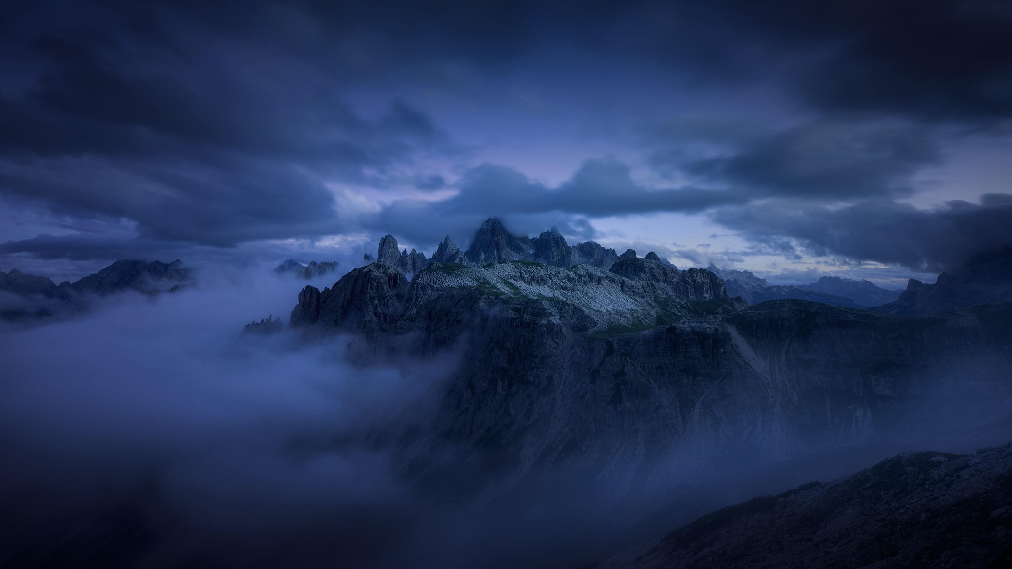 Res: 3840x2160, Mountain, Evening, Fog, Cliff, Dark Clouds