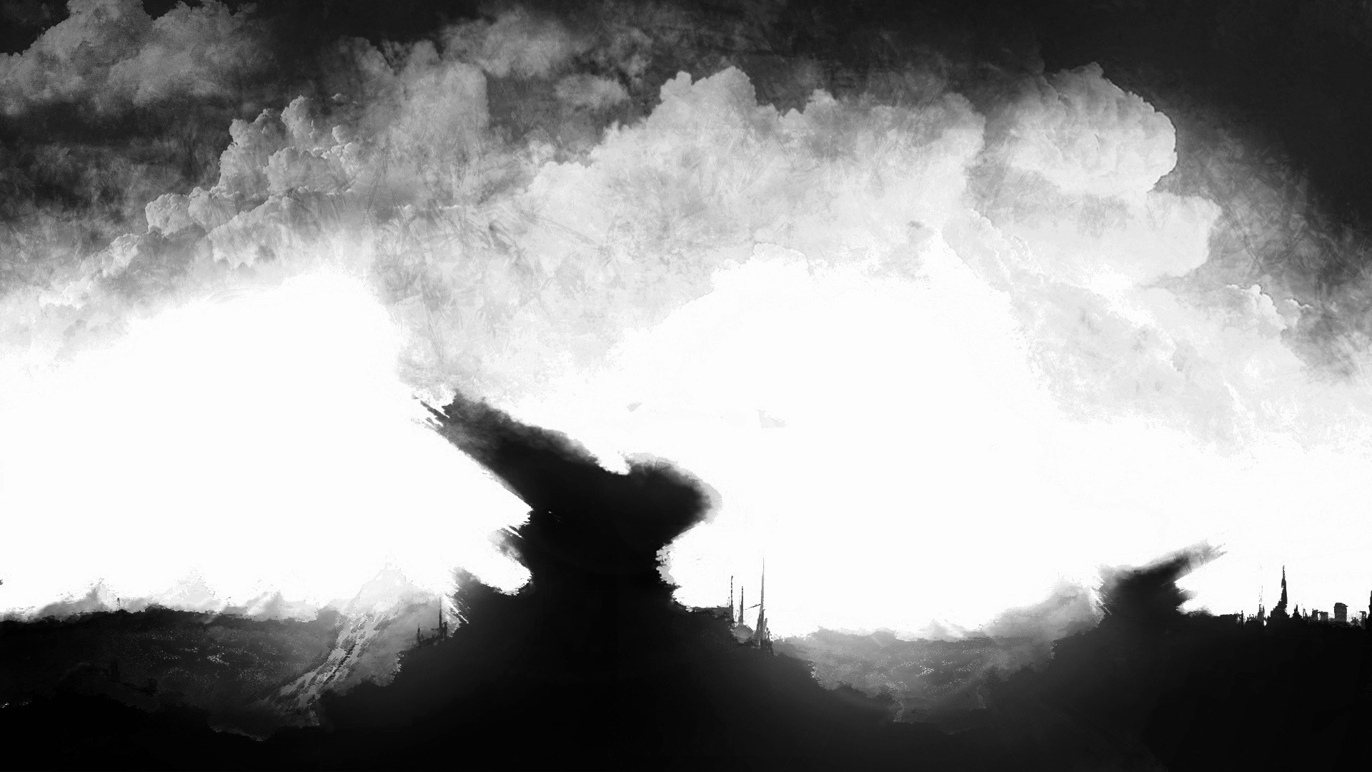 Res: 1920x1080, dark, Surreal, Black, White, Sky, Clouds Wallpapers HD / Desktop and Mobile  Backgrounds