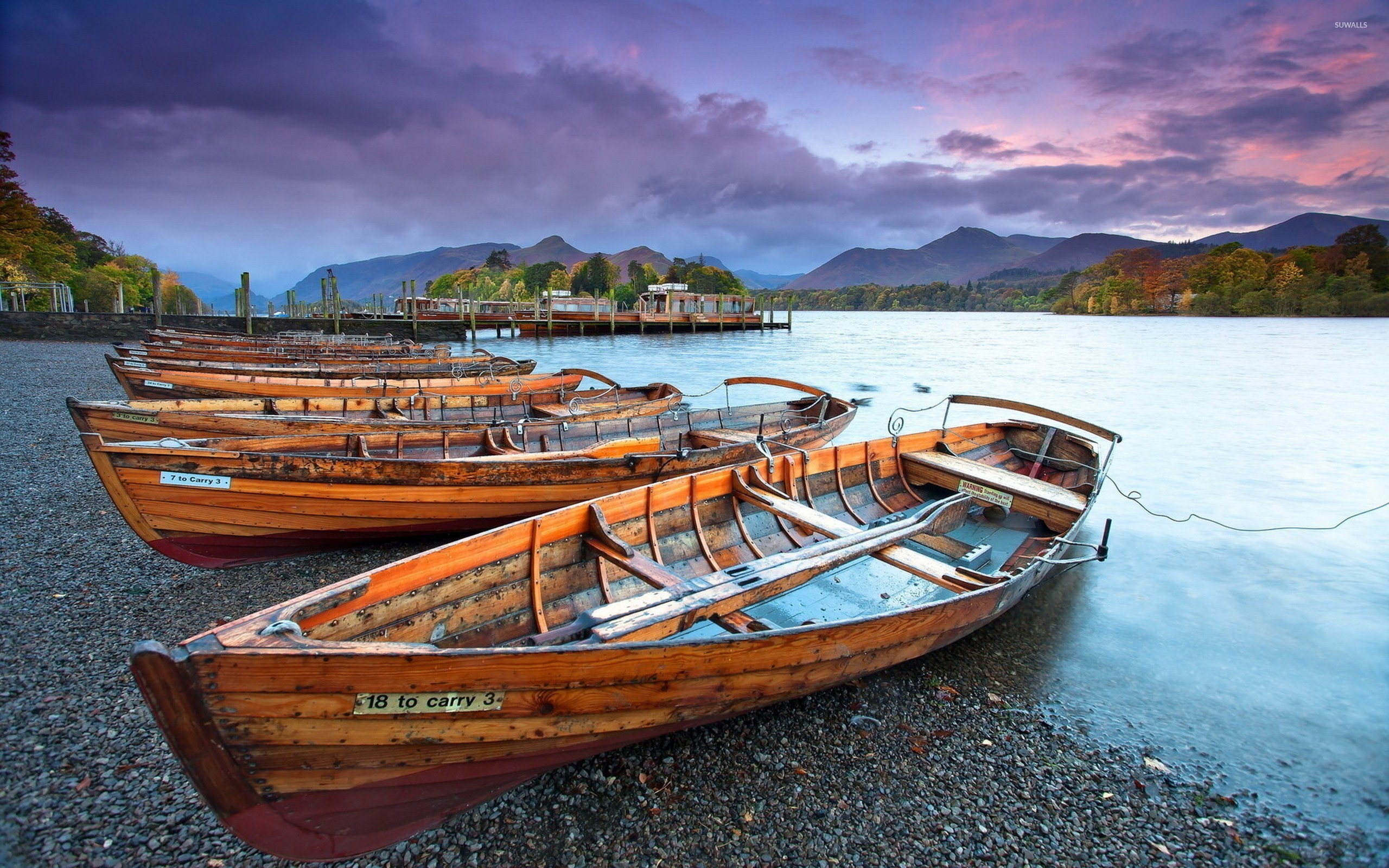 Res: 2560x1600, Wooden boats on the pebble beach of the river wallpaper