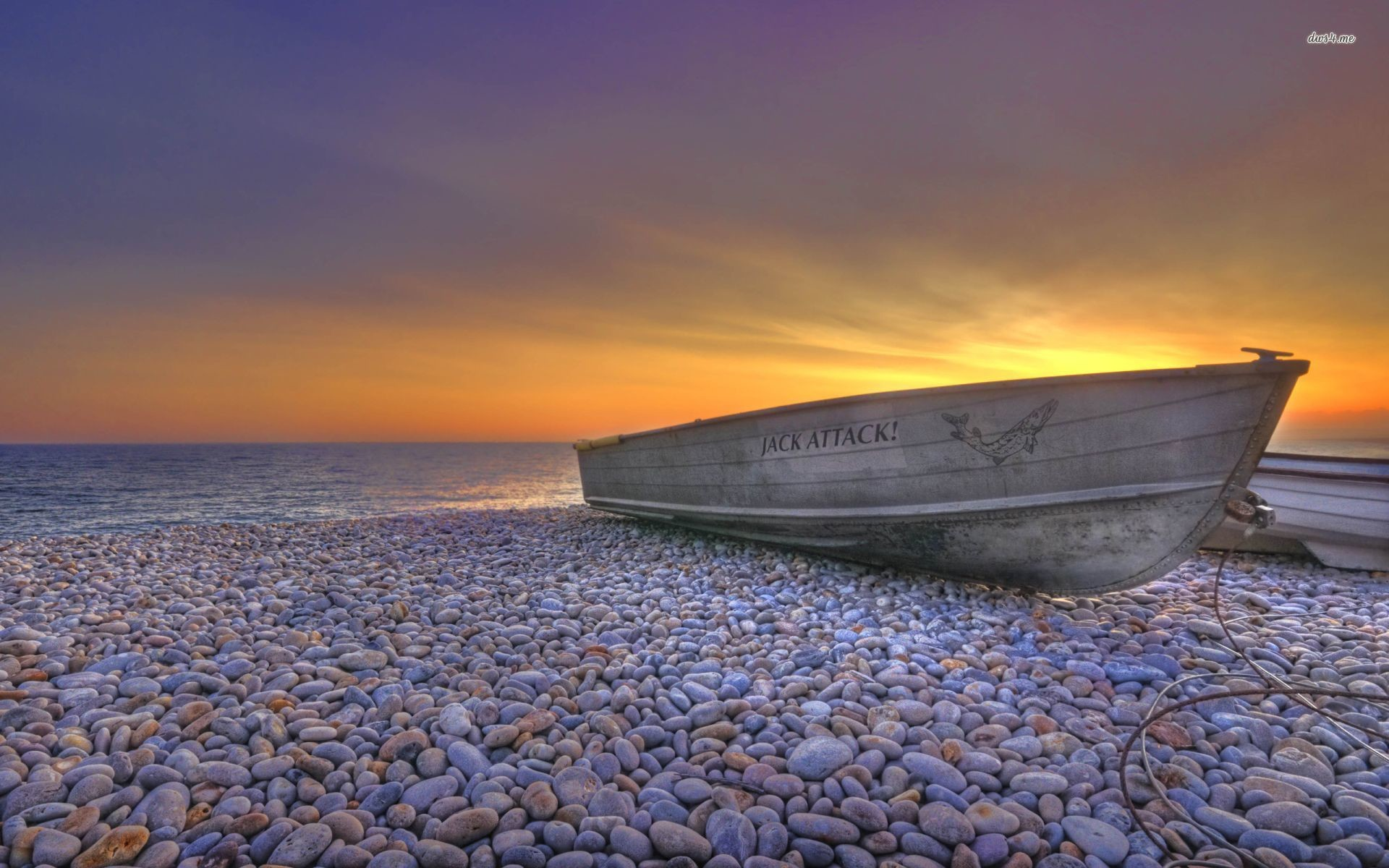 Res: 1920x1200, ... Boat on a pebble beach at sunset wallpaper  ...