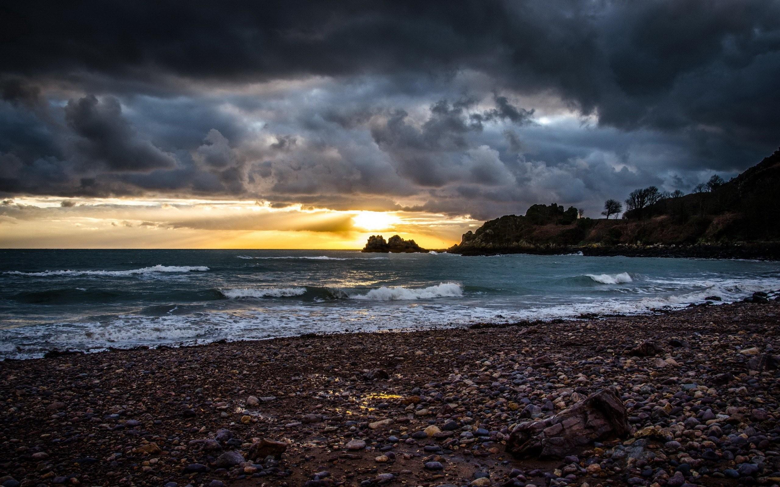 Res: 2560x1600, Sun sea pebble beach waves wallpaper  354969
