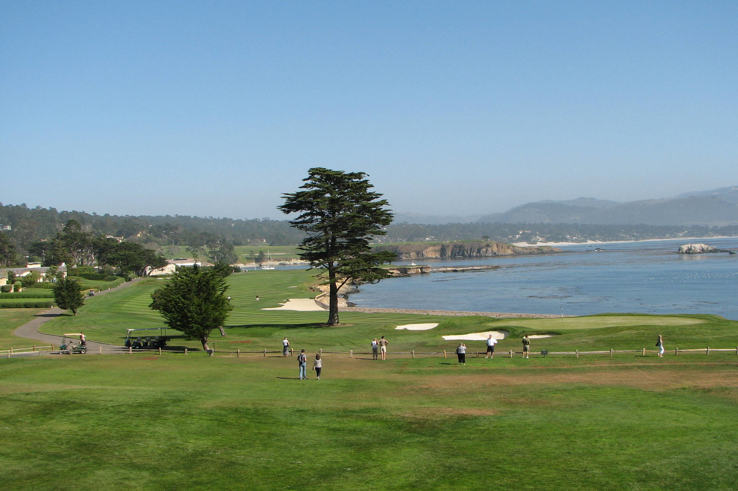 Res: 2587x1722, pebble beach 18th hole hd wallpaper for your desktop background or