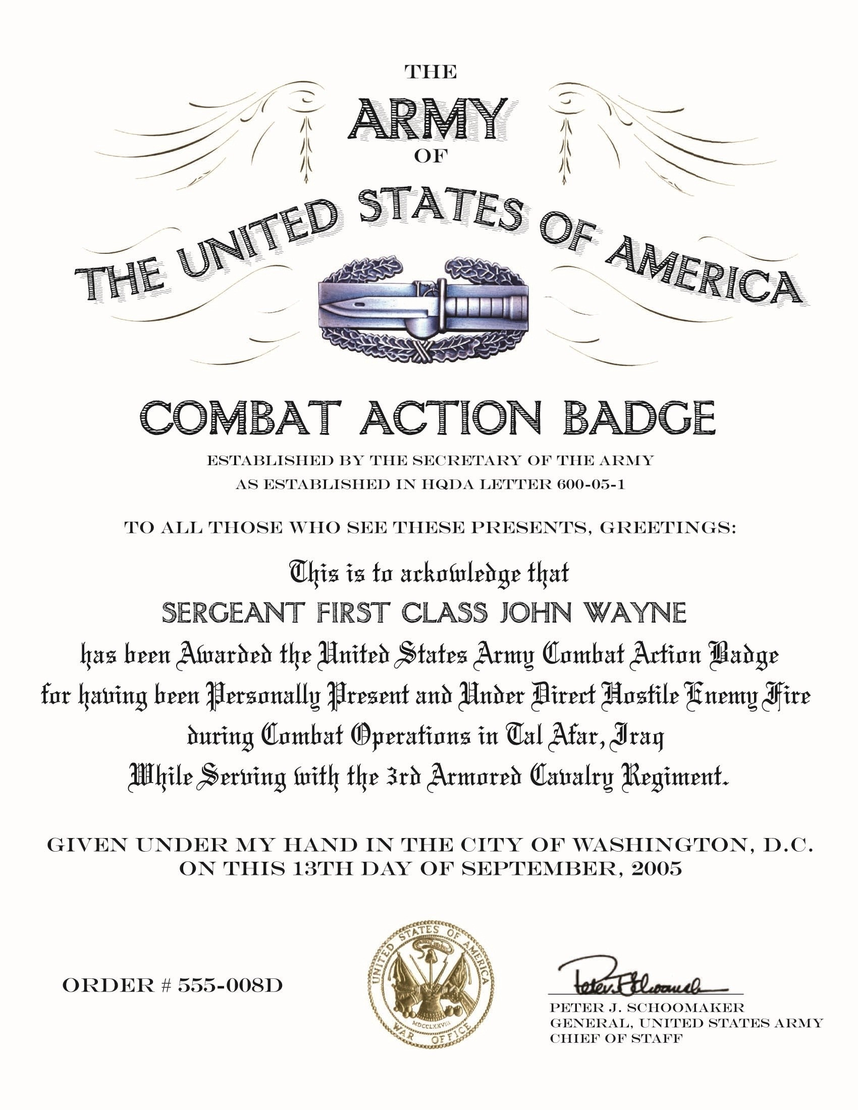 Res: 1700x2200, Combat Action Badge Certificate