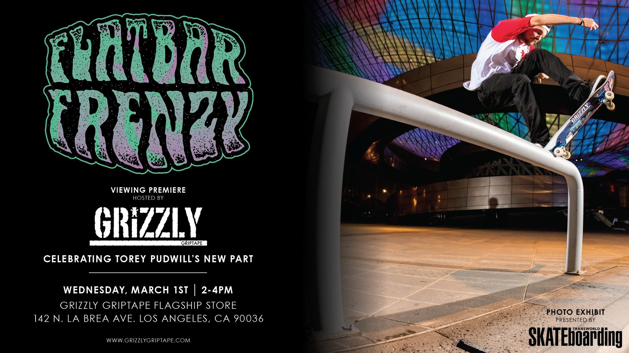"""Res: 2048x1152, Come out to the Grizzly Griptape Flagship Wednesday March 1st from 2-4pm  for the premier of Torey Pudwill's latest part """"Flatbar Frenzy"""" by RedBull."""