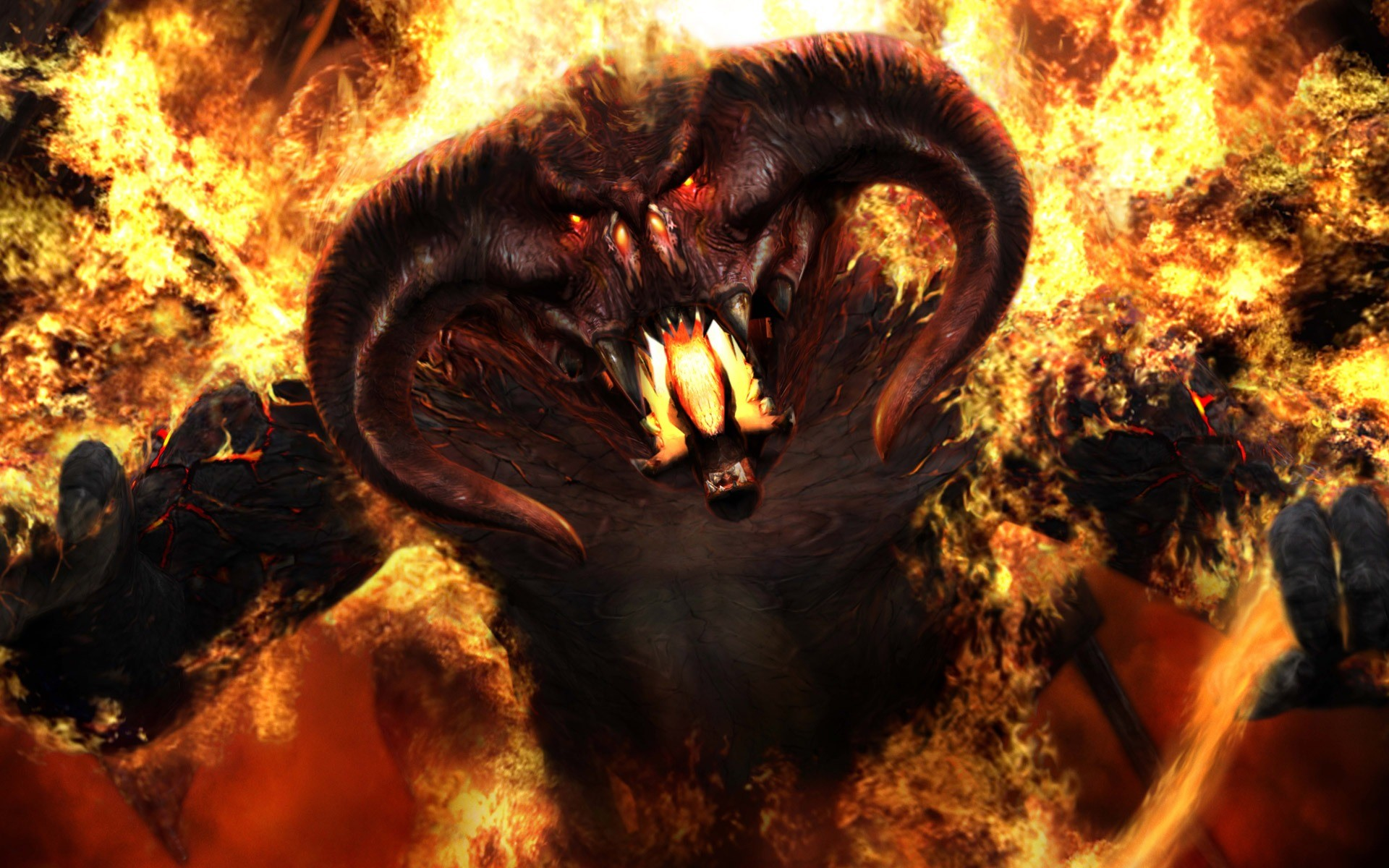 Res: 1920x1200, Beast On Fire Wallpaper Abstract 3D