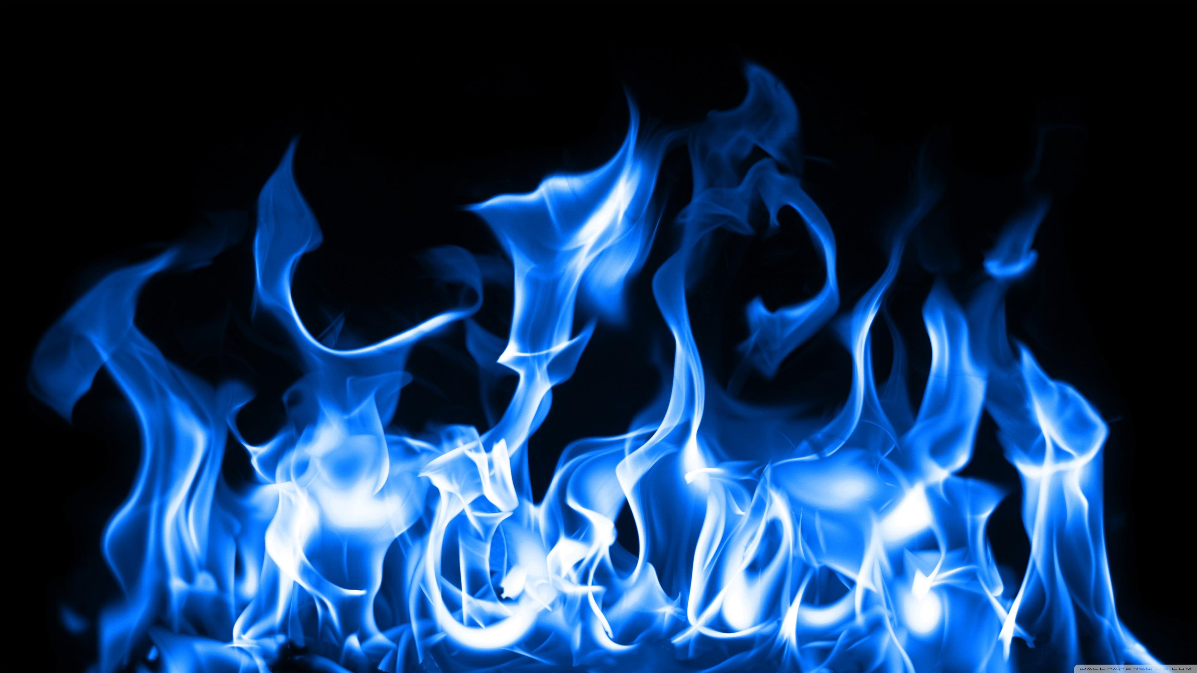 Res: 3840x2160, Download desktop blue fire wallpaper HD.