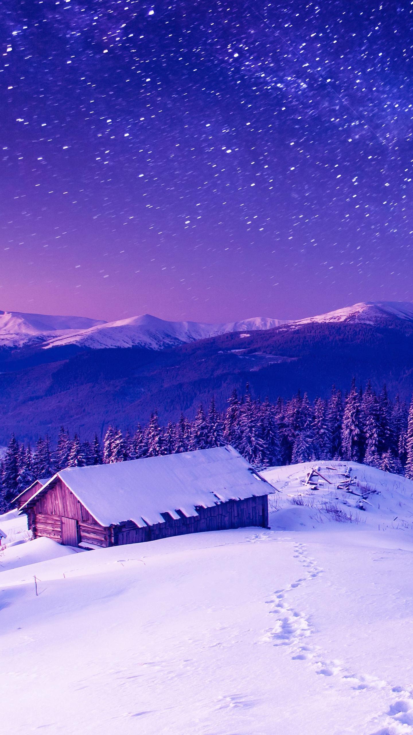 Res: 1440x2560, Purple Star Night Wallpaper