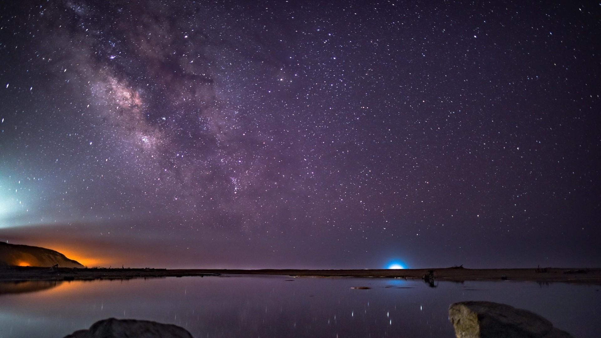 Res: 1920x1080,  Wallpaper stars, starry sky, night, purple