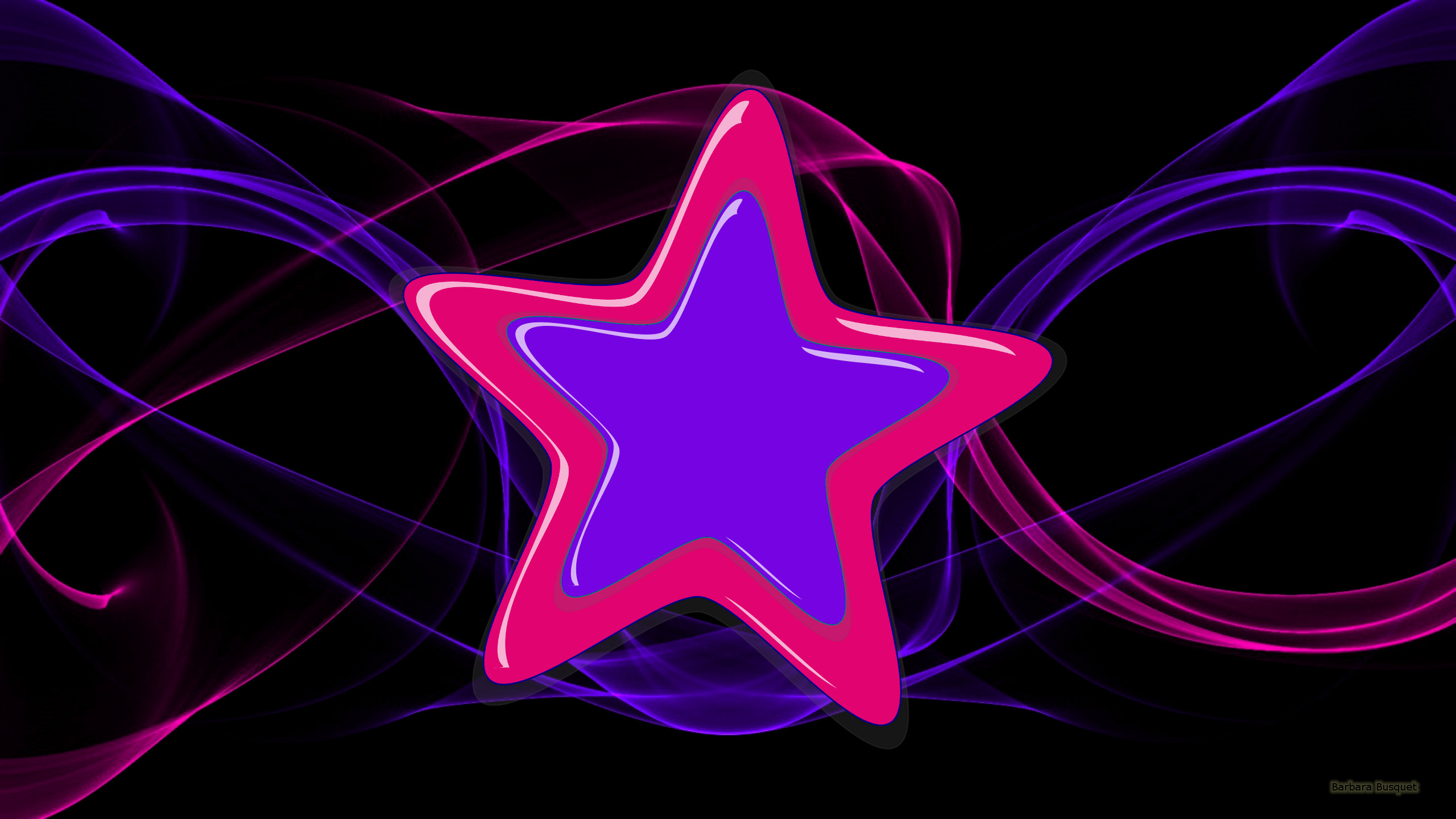 Res: 2560x1440, Black wallpaper with purple and pink stars.