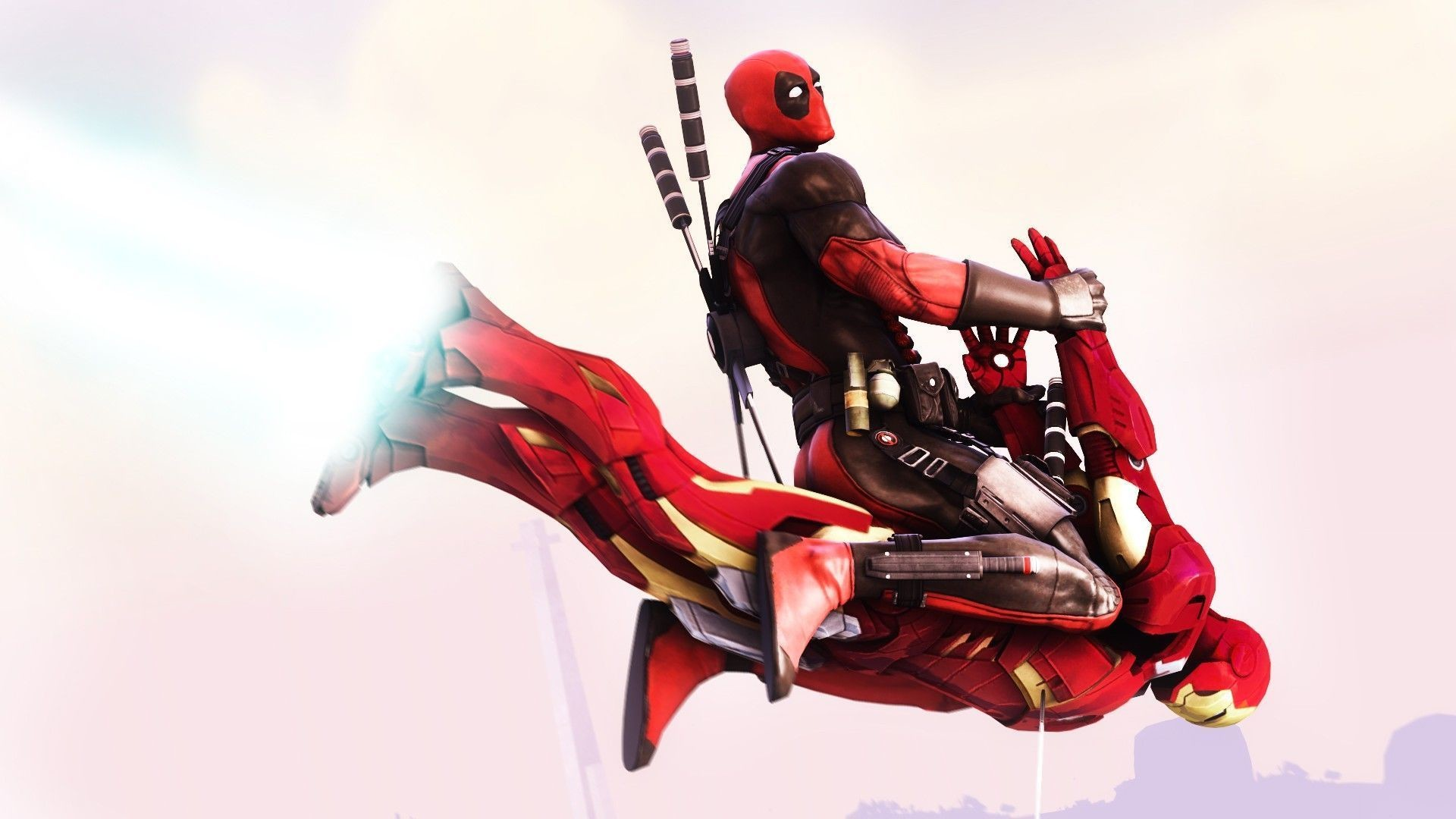Res: 1920x1080, Deadpool Flying On Iron Man Funny Hd… The Bright Little Frog Wallpaper