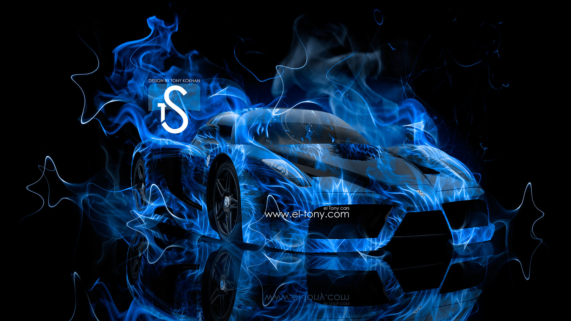 Res: 1920x1080, Ferrari-Enzo-Blue-Fire-Car-2013-Abstract-Smoke-