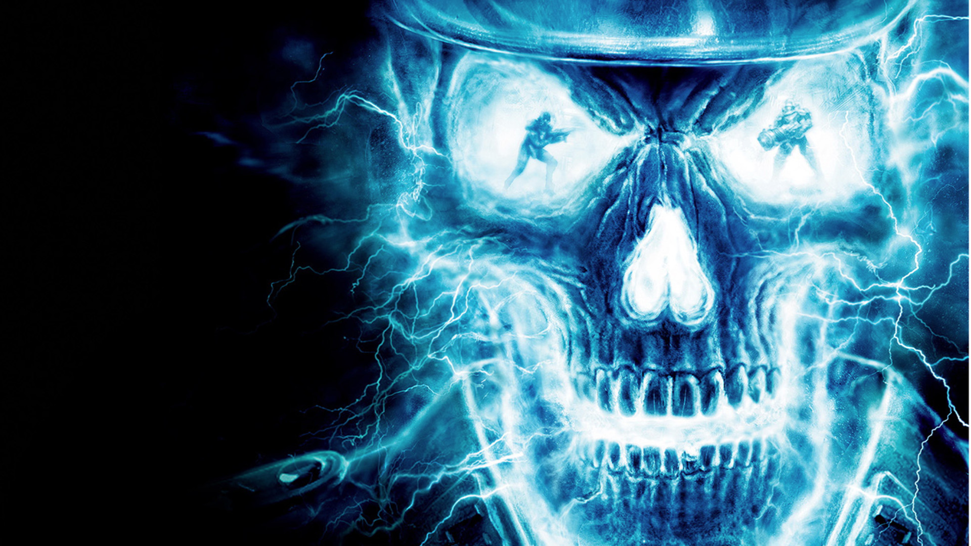 Res: 1920x1080, attractive skull danger blue light wallpaper