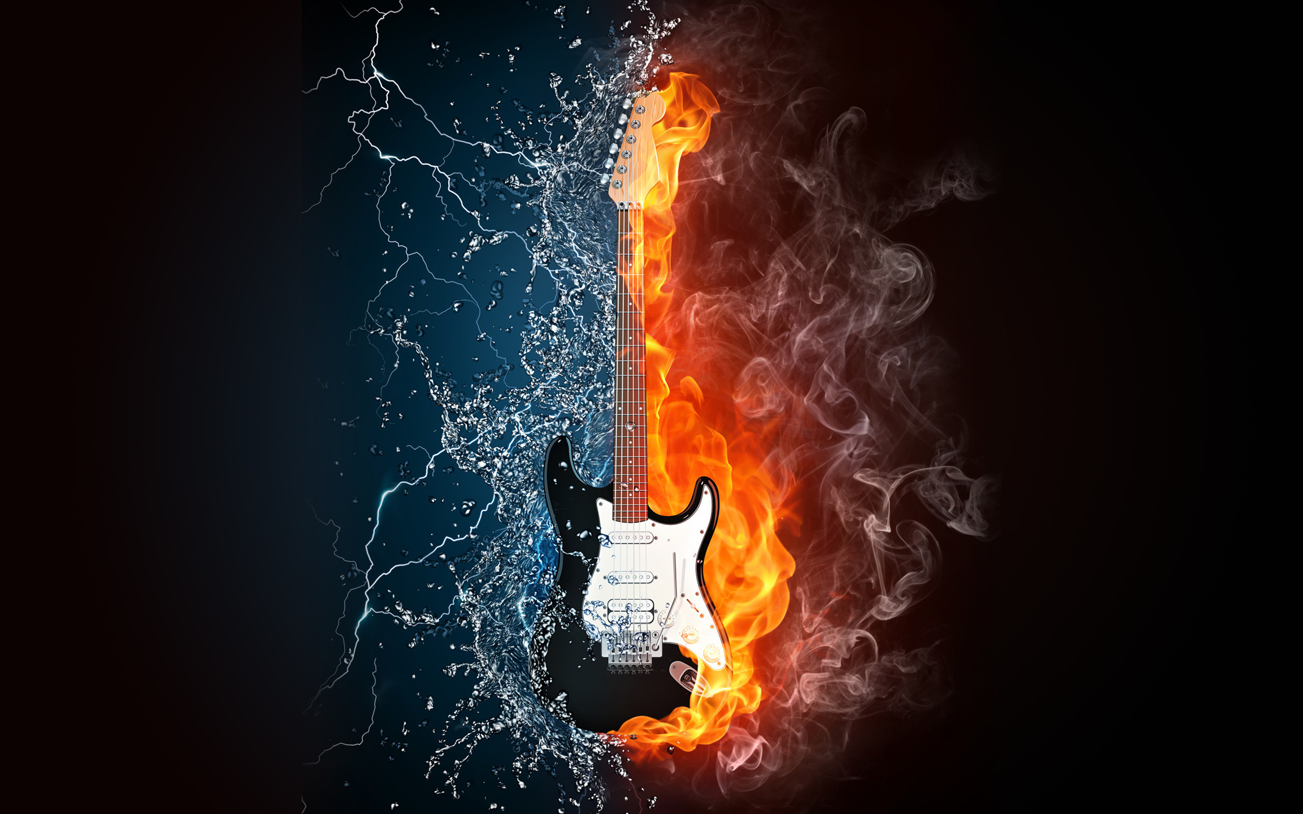 Res: 2560x1600, Red And Blue Fire Water Guitar Wallpaper Best Wallpaper