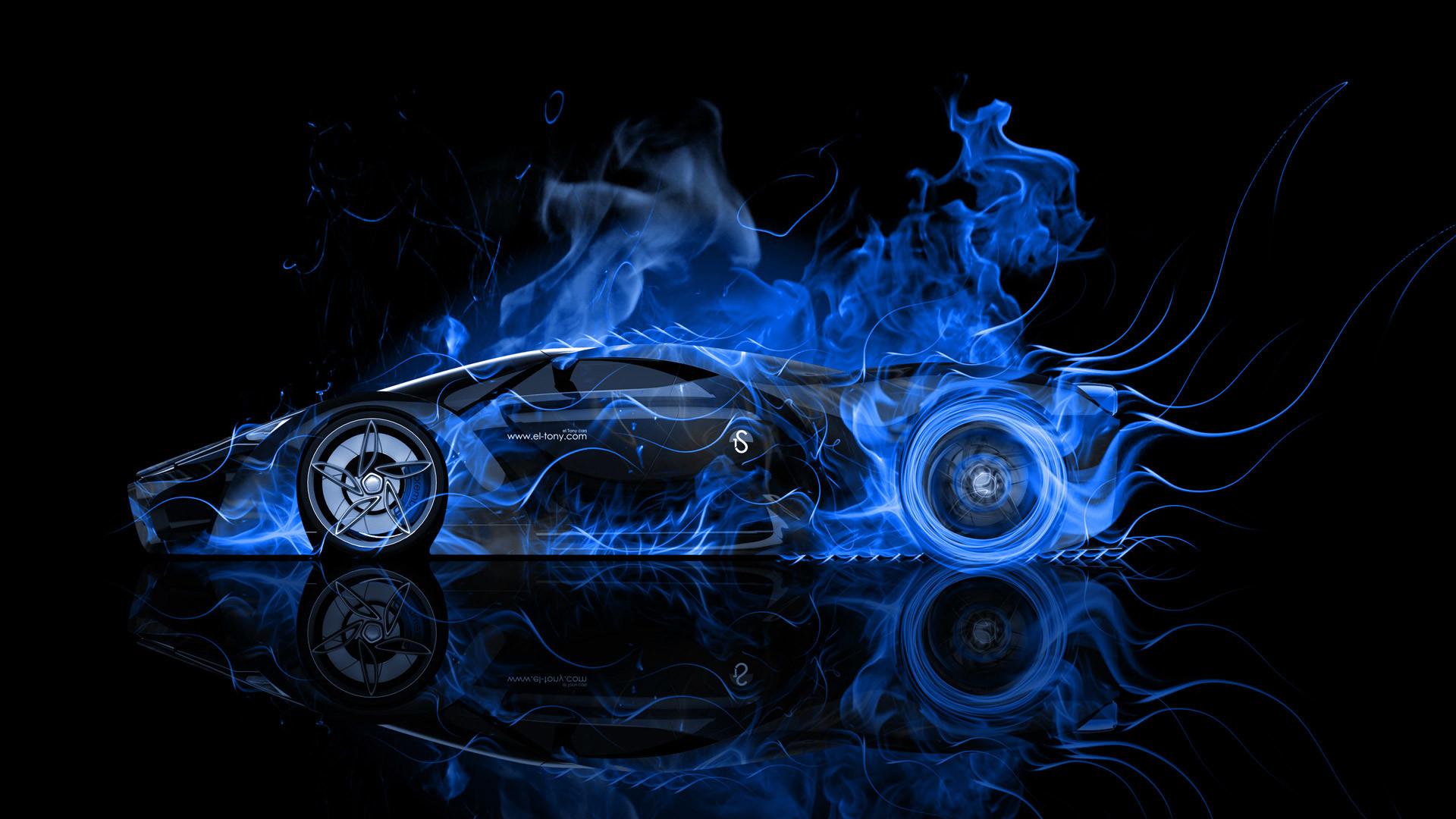 Res: 1920x1080, Ferrari-F80-Side-Blue-Fire-Abstract-Car-2014-