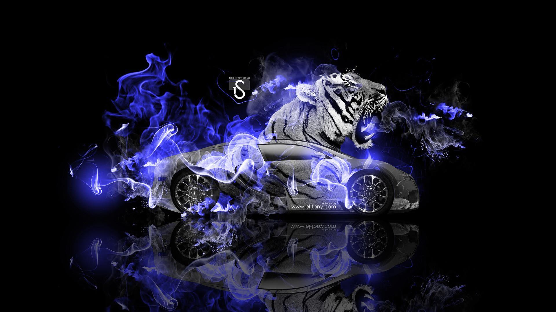 Res: 1920x1080, Bugatti-Veyron-Fantasy-Tiger-Blue-Fire-Car-2014-