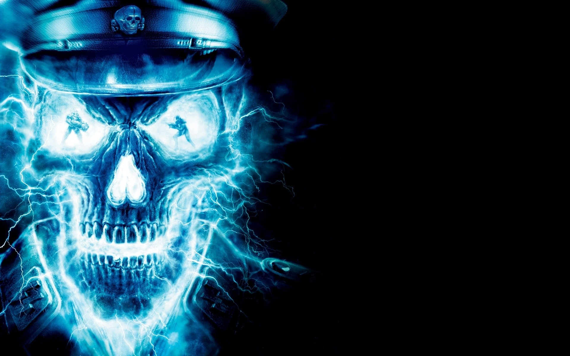 Res: 1920x1200, Belkis Mcentee: Blue Fire Skull Wallpaper, WP-84: px