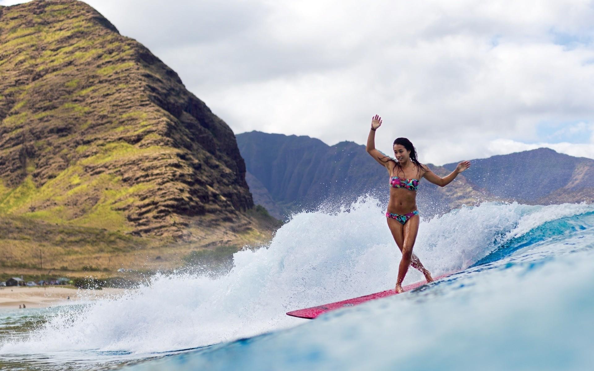 Res: 1920x1200, ocean girl surfing mountain waves sea girls women wallpaper