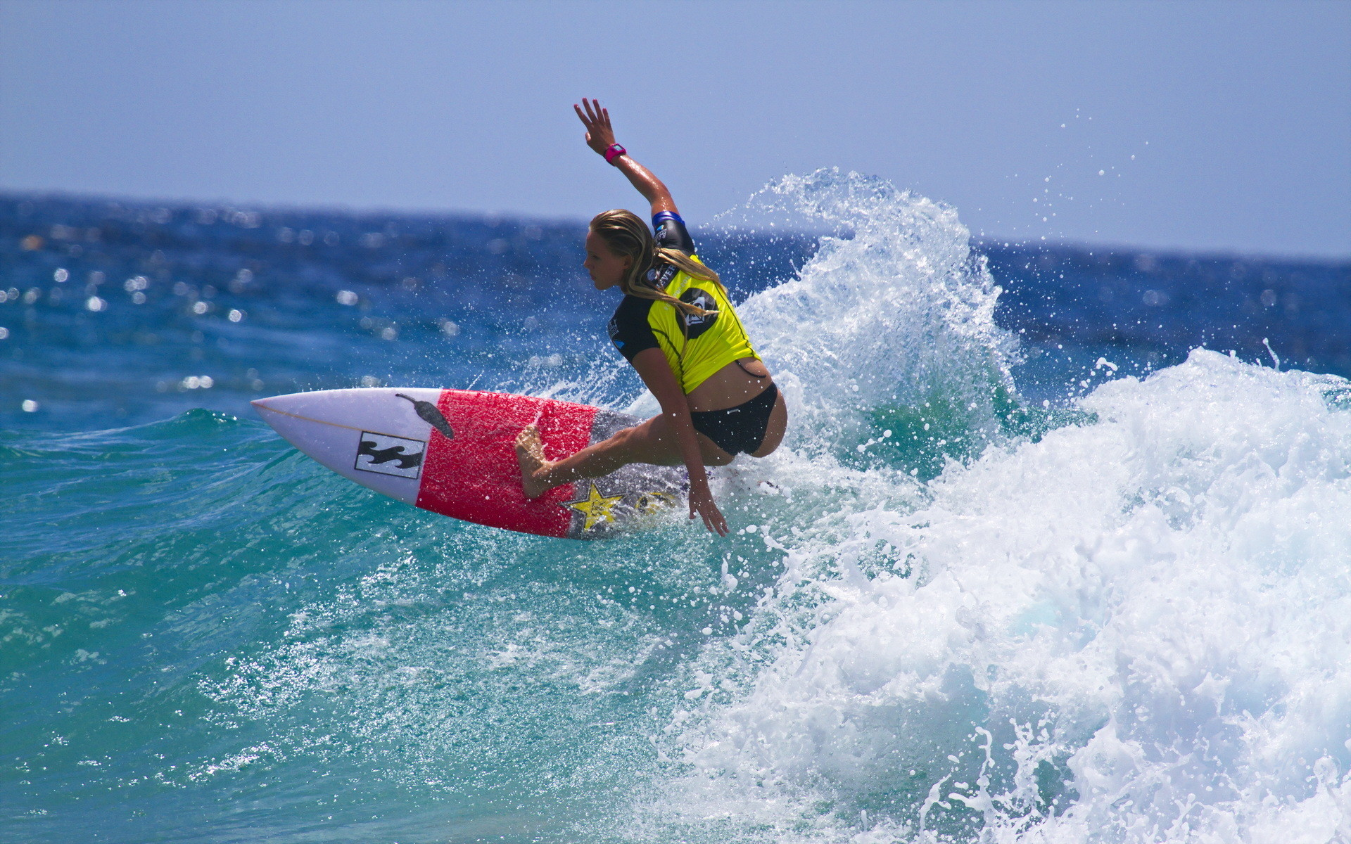 Res: 1920x1200, Girl Surfing Wallpaper