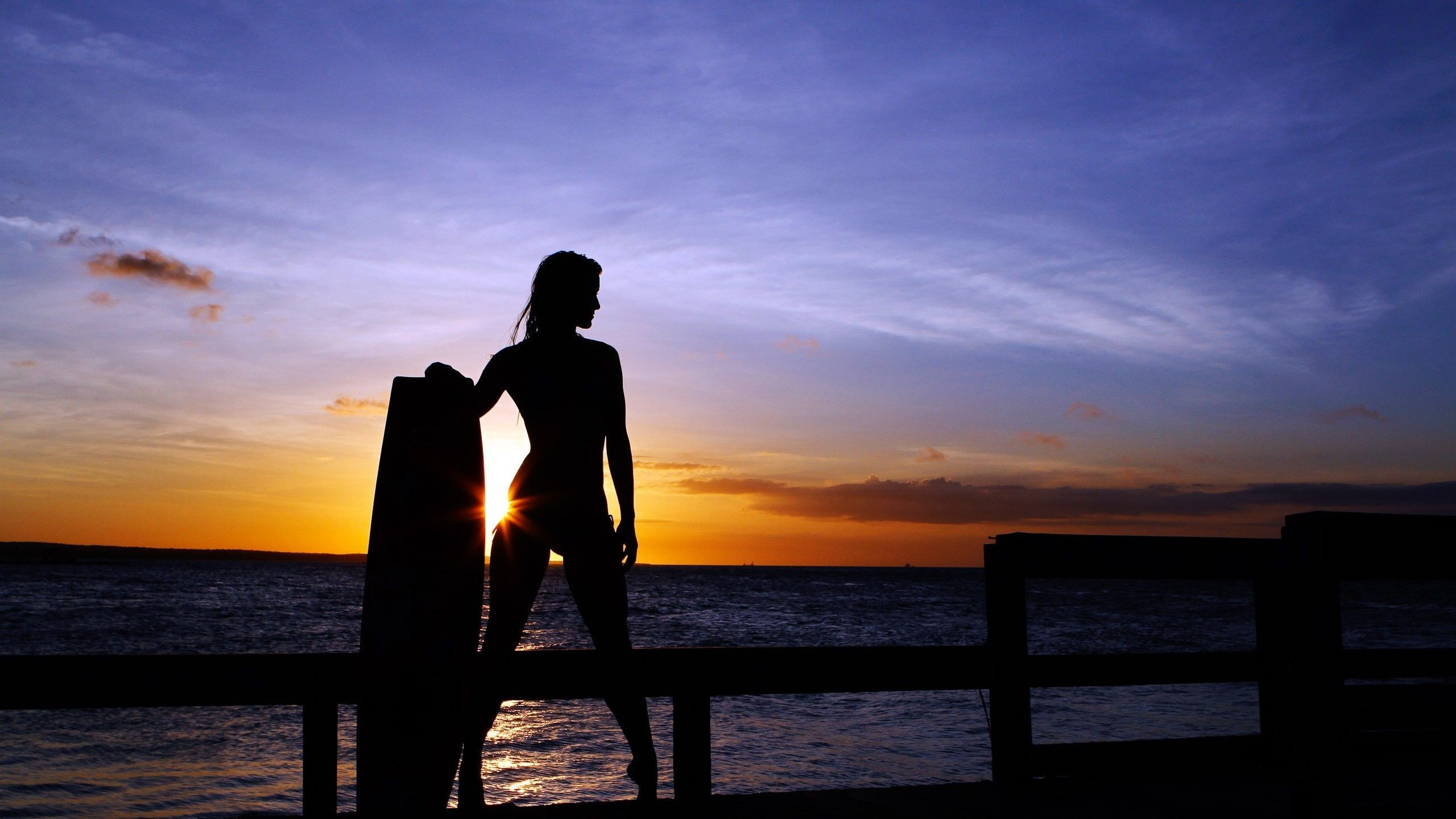 Res: 2560x1440, ... surfer in the sunset HD Wallpaper  Woman ...