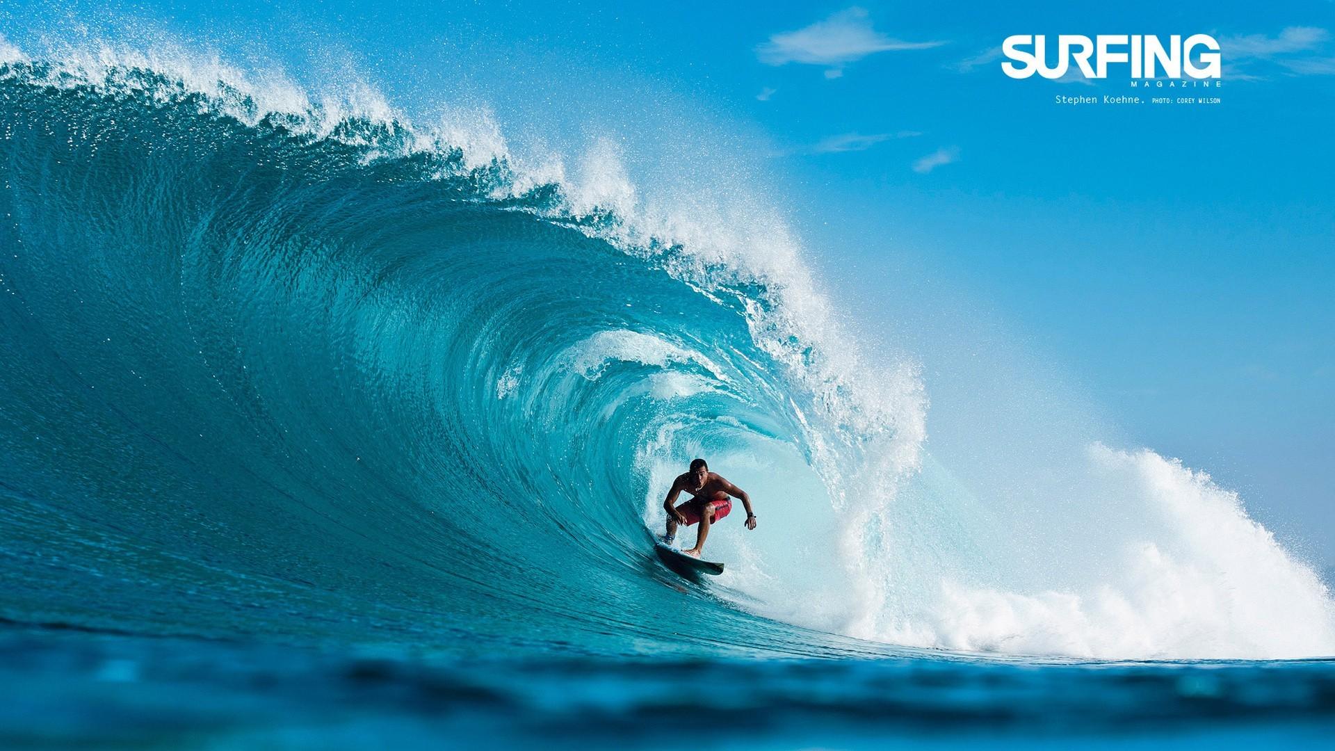 Res: 1920x1080, Surfing in Teahupoo Tahiti Wallpaper