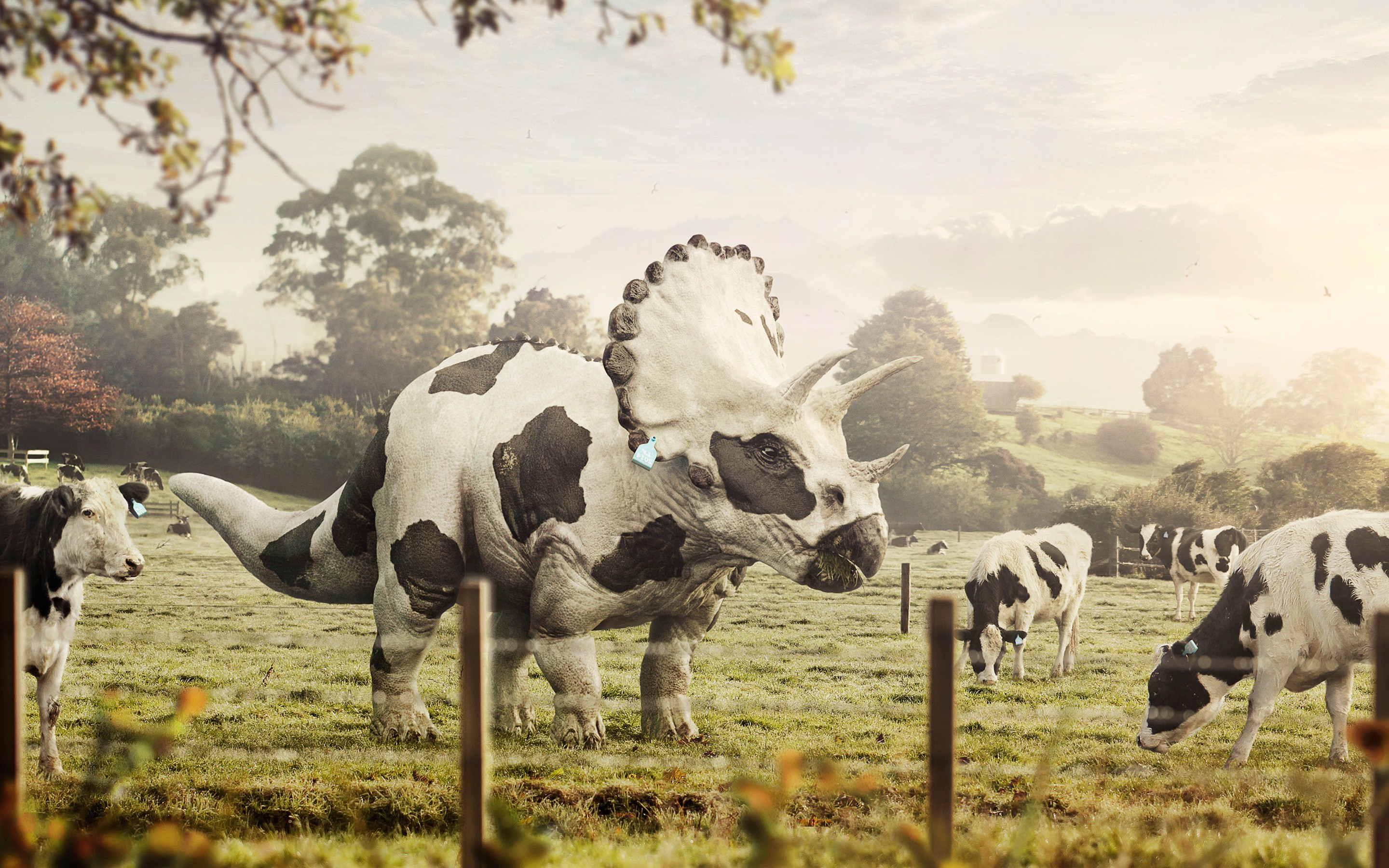 Res: 2880x1800, Abduzeedo, Cows, Dinosaurs, Triceratops, Digital Art, Bull, Farm Wallpapers  HD / Desktop and Mobile Backgrounds