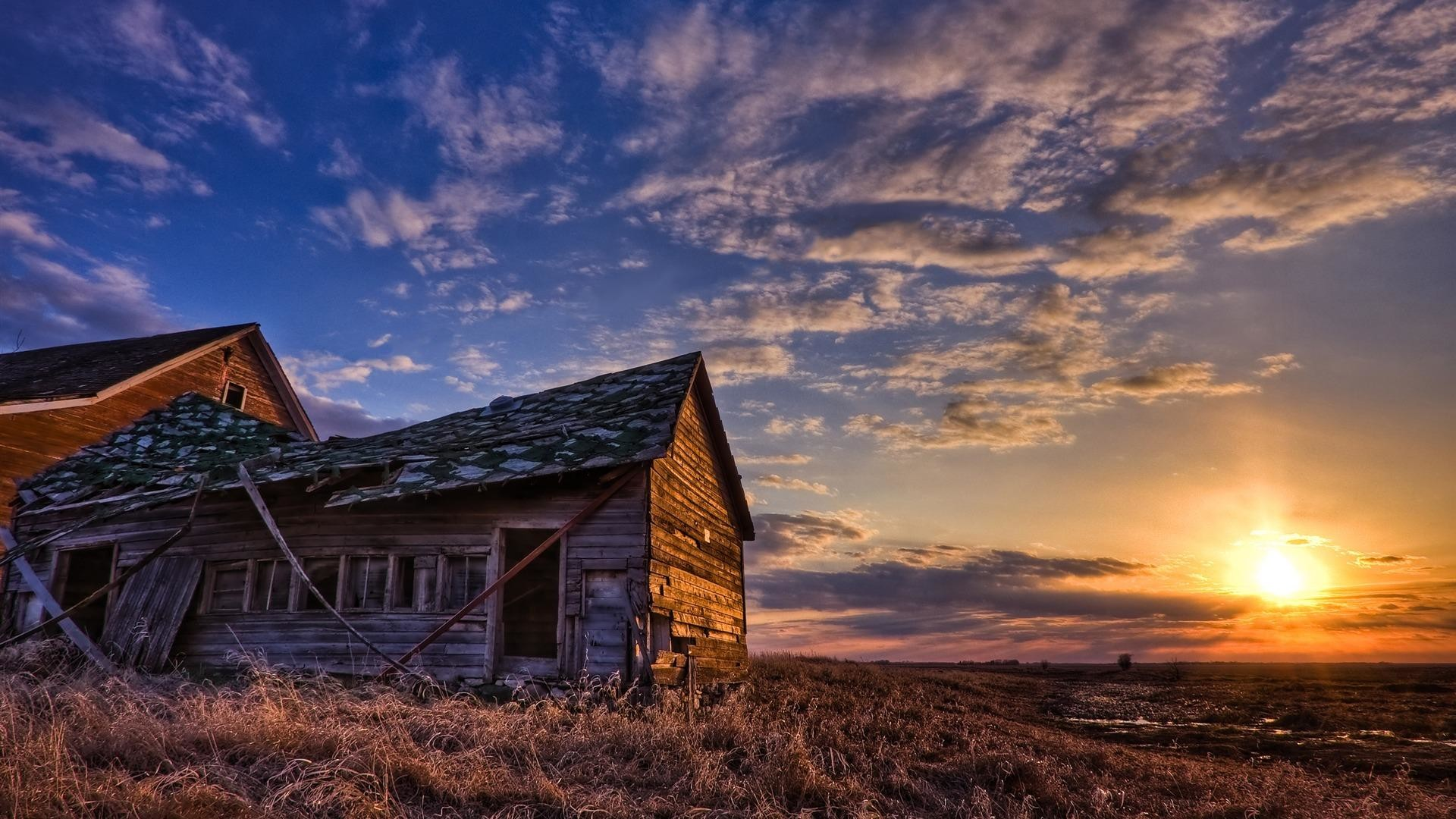 Res: 1920x1080, Old Rusty Farm House In Sunset wallpaper thumb