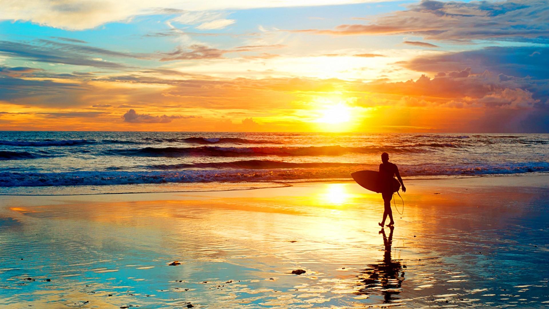 Res: 1920x1080, Summer Beach Surf Sunset Wallpaper