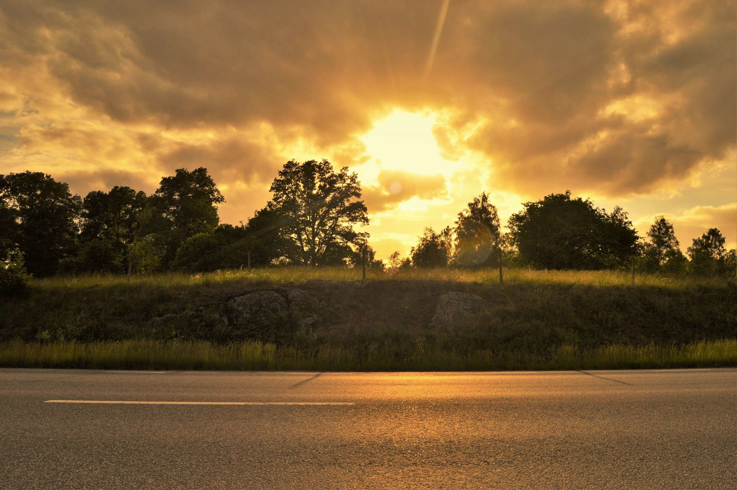 Res: 3008x2000, cloud, evening, forest, himmel, nature, outdoor, road, solar, summer, sunset,  sweden, the evening sky, tree, views wallpaper and background