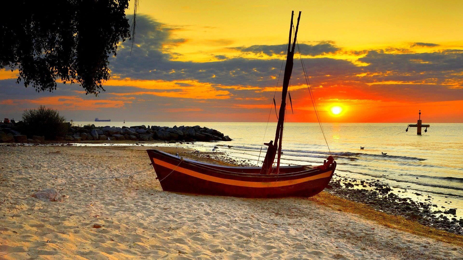 Res: 1920x1080, Landscape Beach Sunset Wallpaper