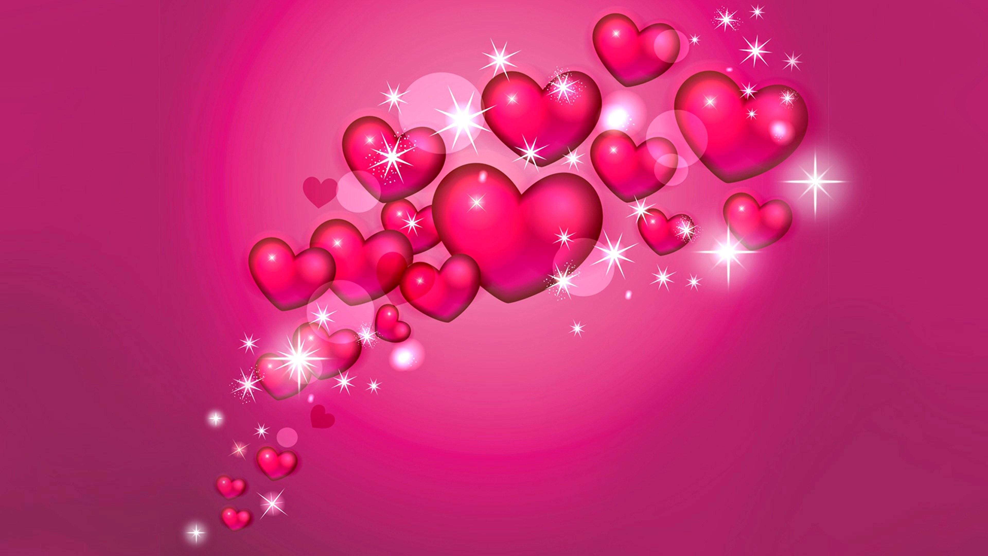 Res: 3840x2160, Künstlerisch - Herz Künstlerisch Pink Sparkles Glitter Wallpaper