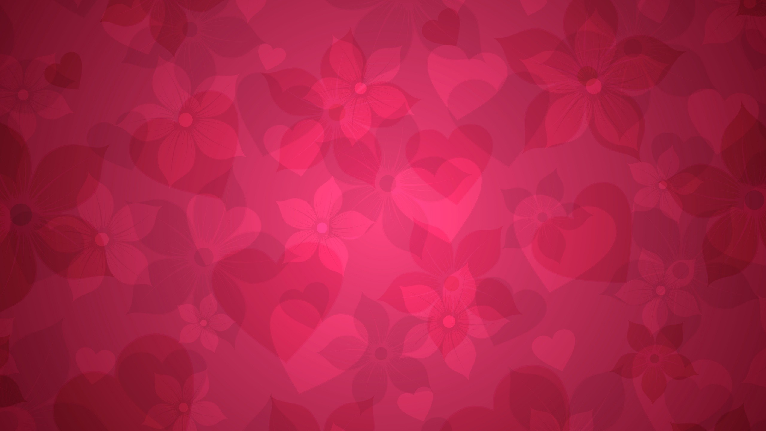 Res: 2560x1440,  Wallpaper texture, pink, heart, hearts, flowers