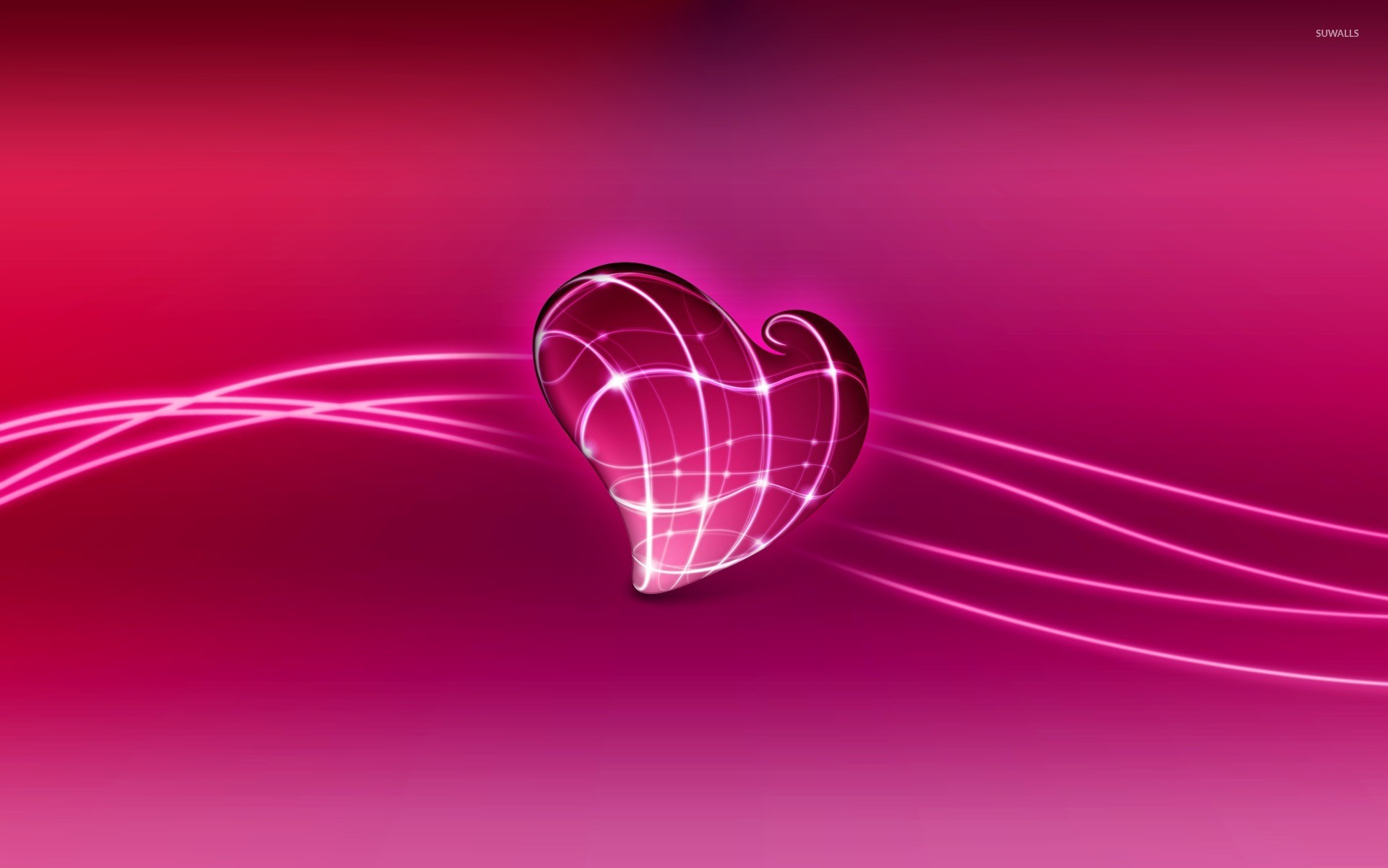 Res: 1920x1200, Neon lights on a pink heart wallpaper
