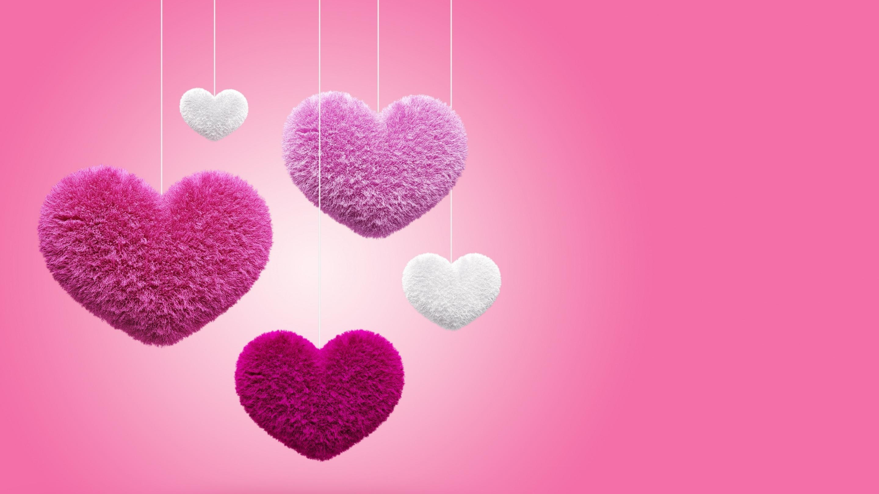 Res: 2880x1620, Pink Fluffy Hearts