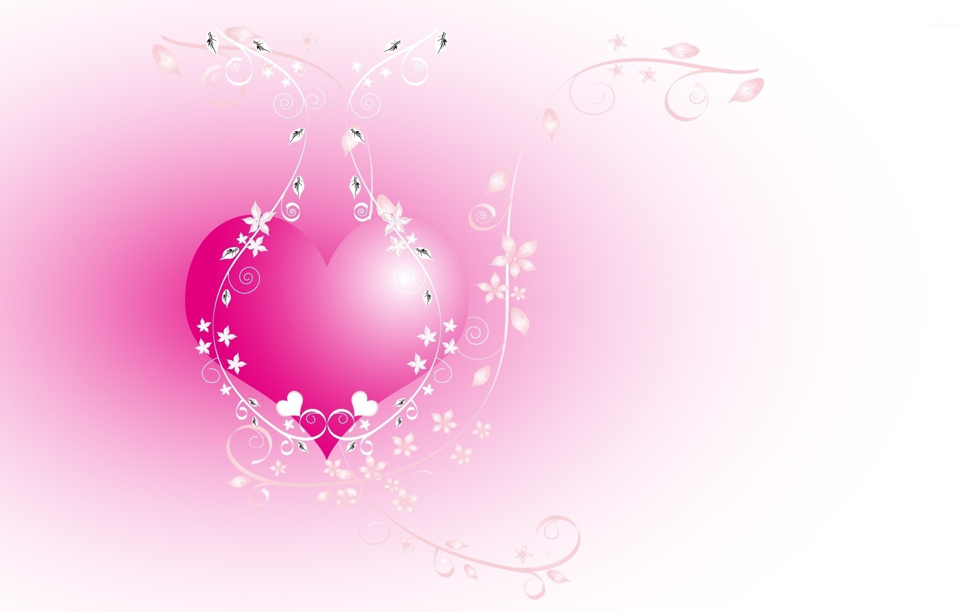Res: 1920x1200, Pink heart chained in the flowers wallpaper