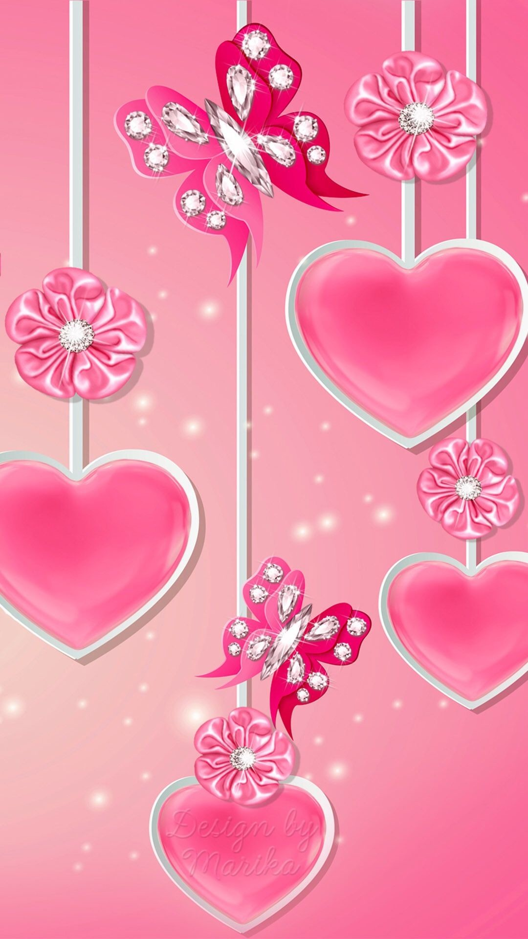 Res: 1080x1920, Pink Hearts Flowers and Butterflies Wallpaper