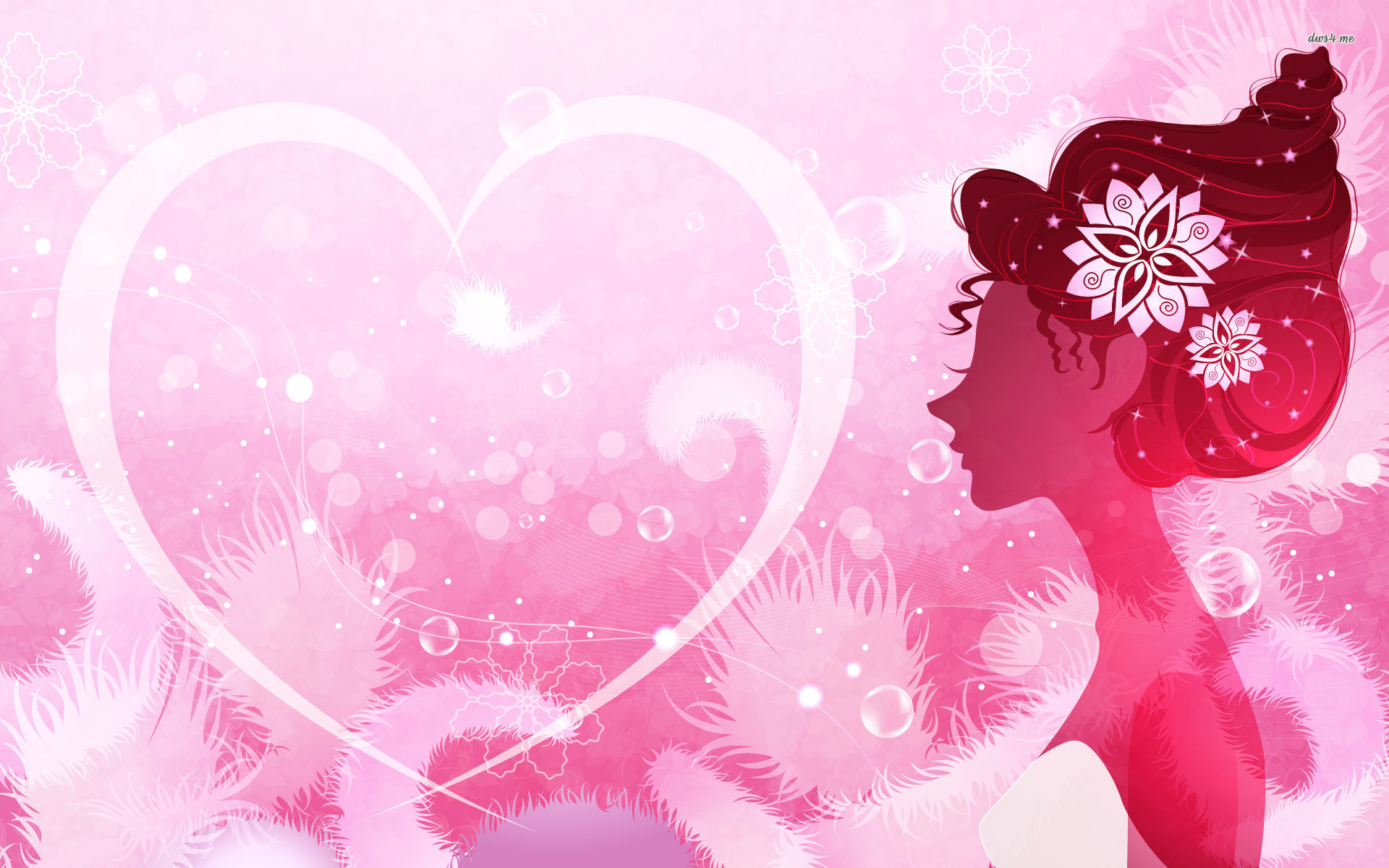 Res: 1920x1200, ... Pink heart and woman wallpaper  ...