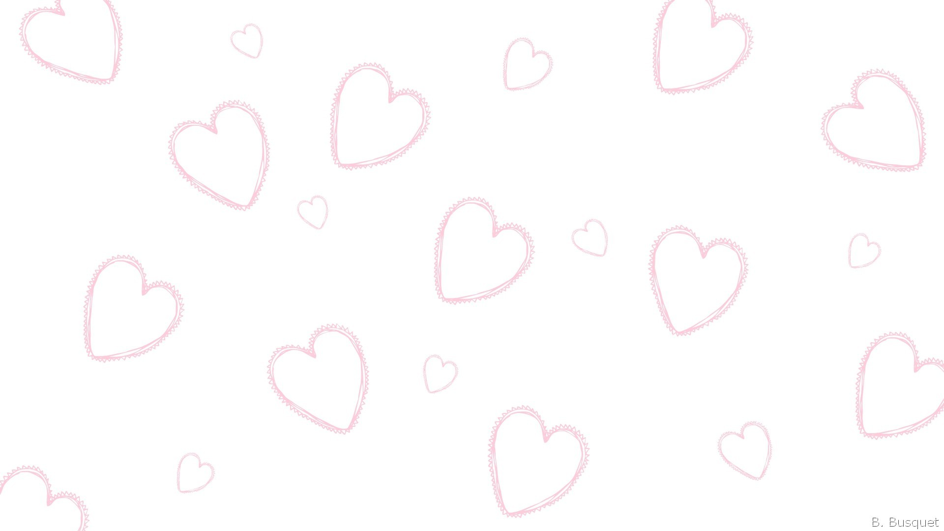 Res: 1920x1080, White wallpaper with pink hearts