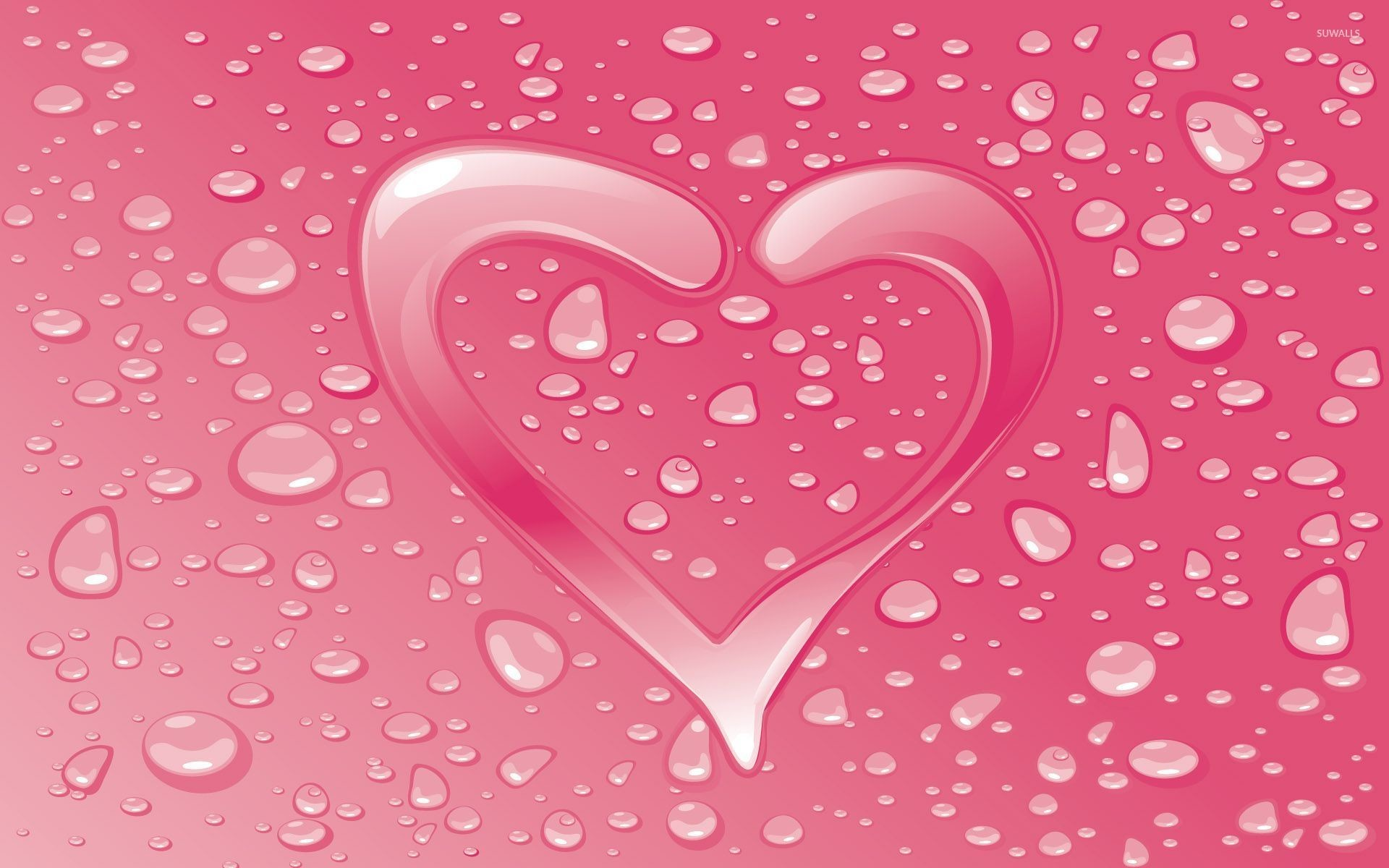 Res: 1920x1200, Water drops on the pink heart wallpaper