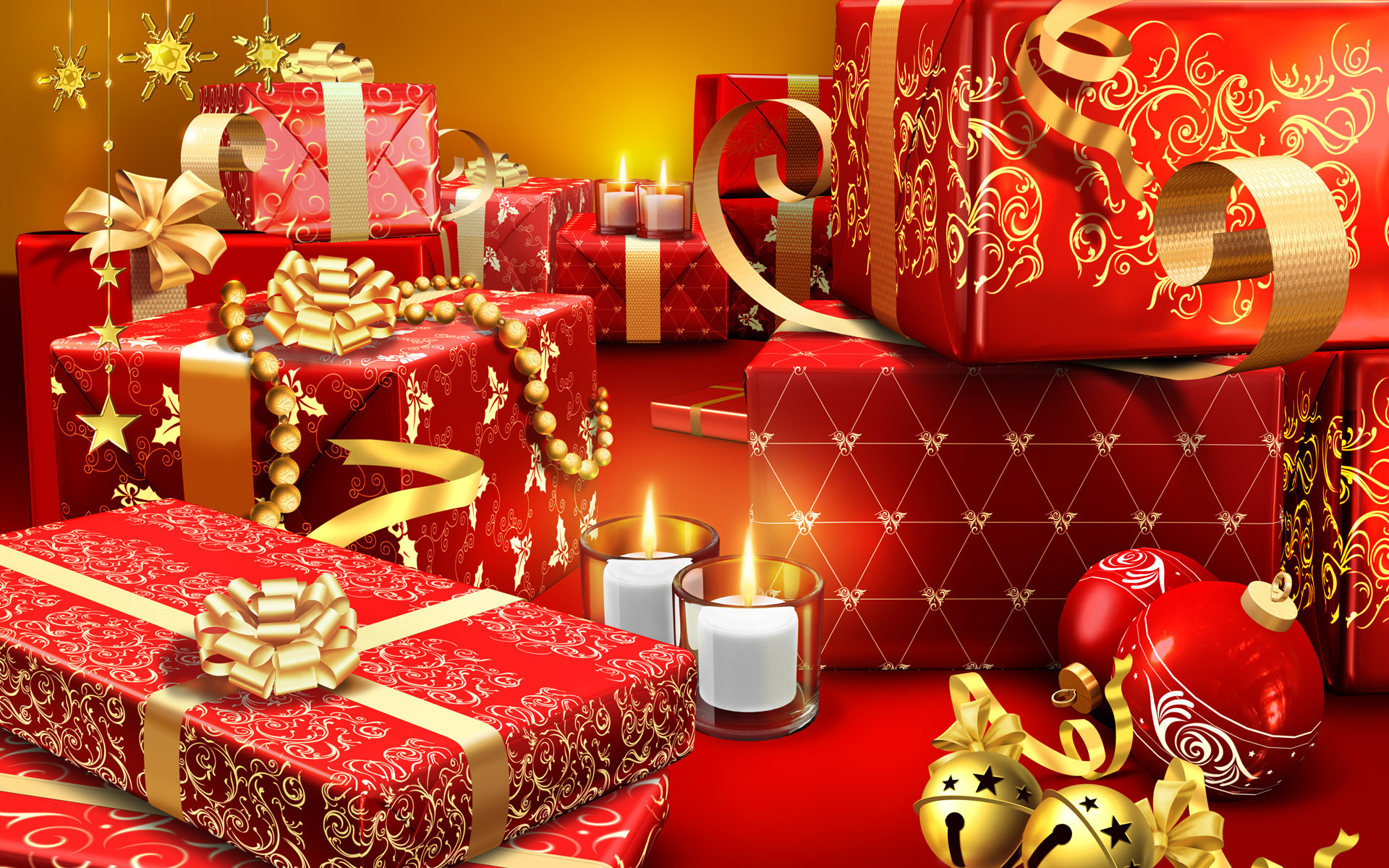 Res: 1920x1200, Holiday - Christmas Gift Candle Wallpaper