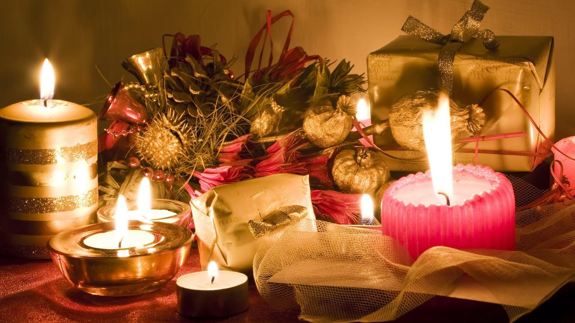 Res: 1920x1080, New Year Holiday Christmas Gifts Candles