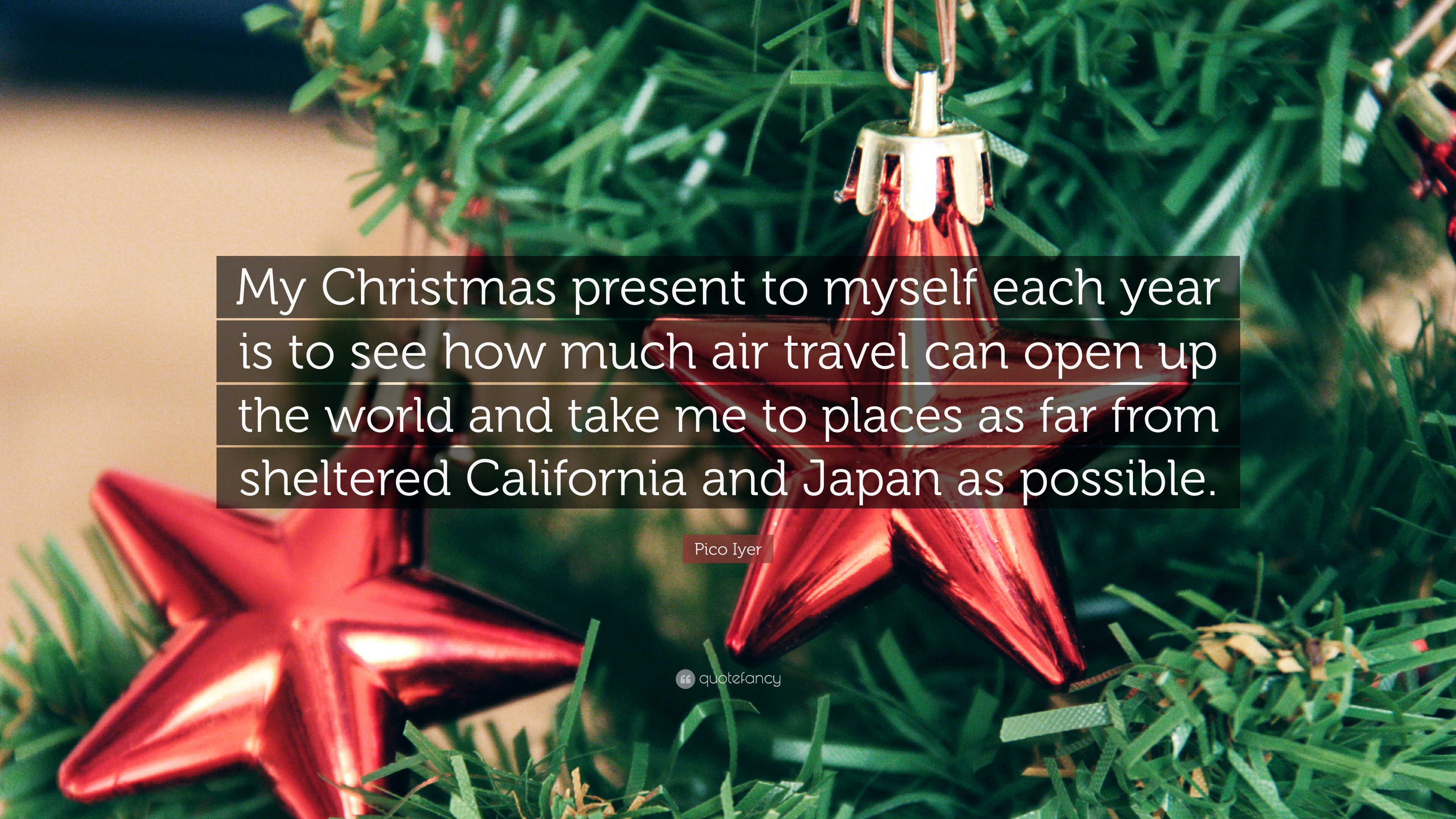 """Res: 3840x2160, Pico Iyer Quote: """"My Christmas present to myself each year is to see how"""