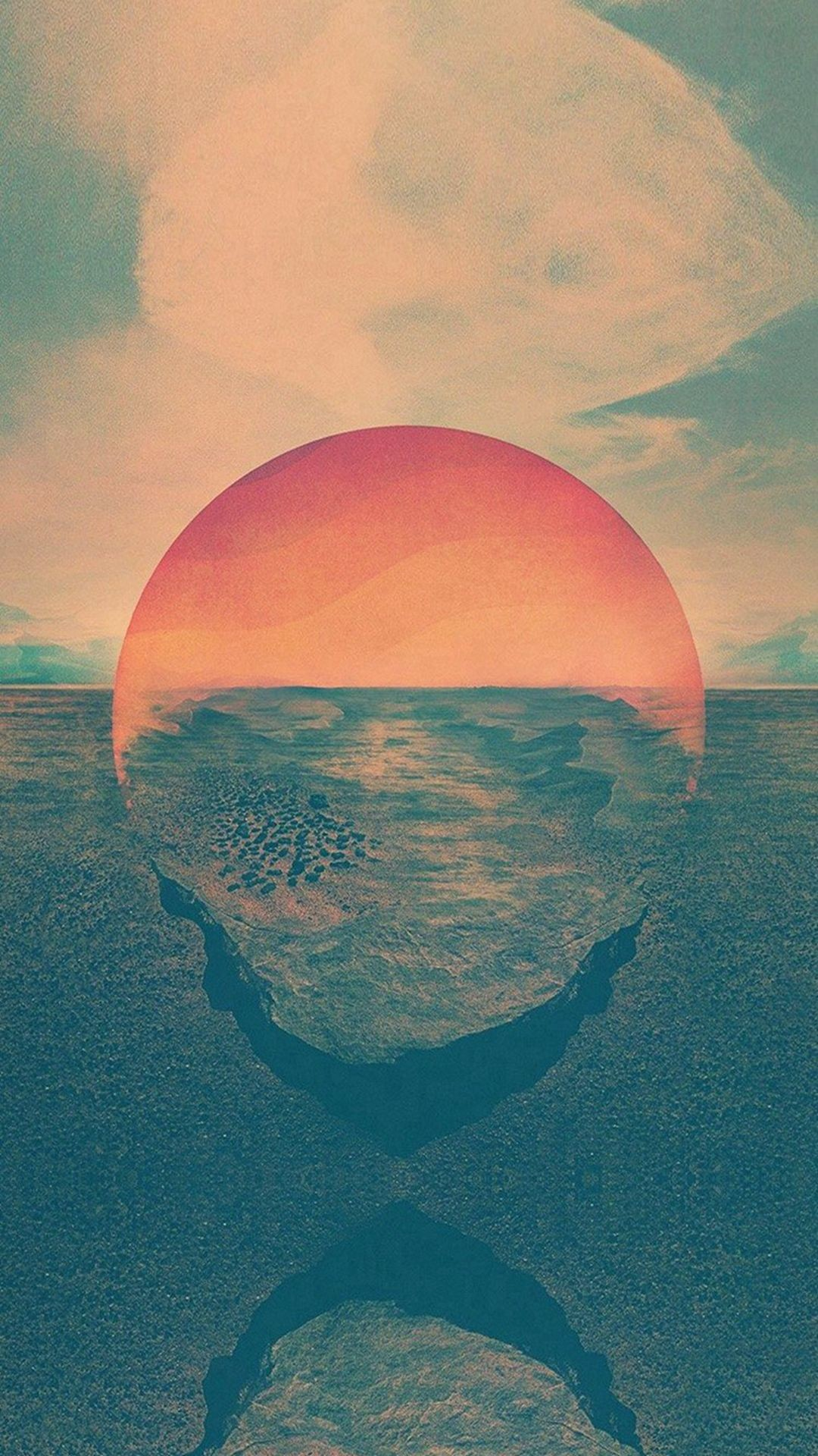 Res: 1080x1920, Tycho Art Sunset Green Red Art Retro #iPhone #6 #wallpaper